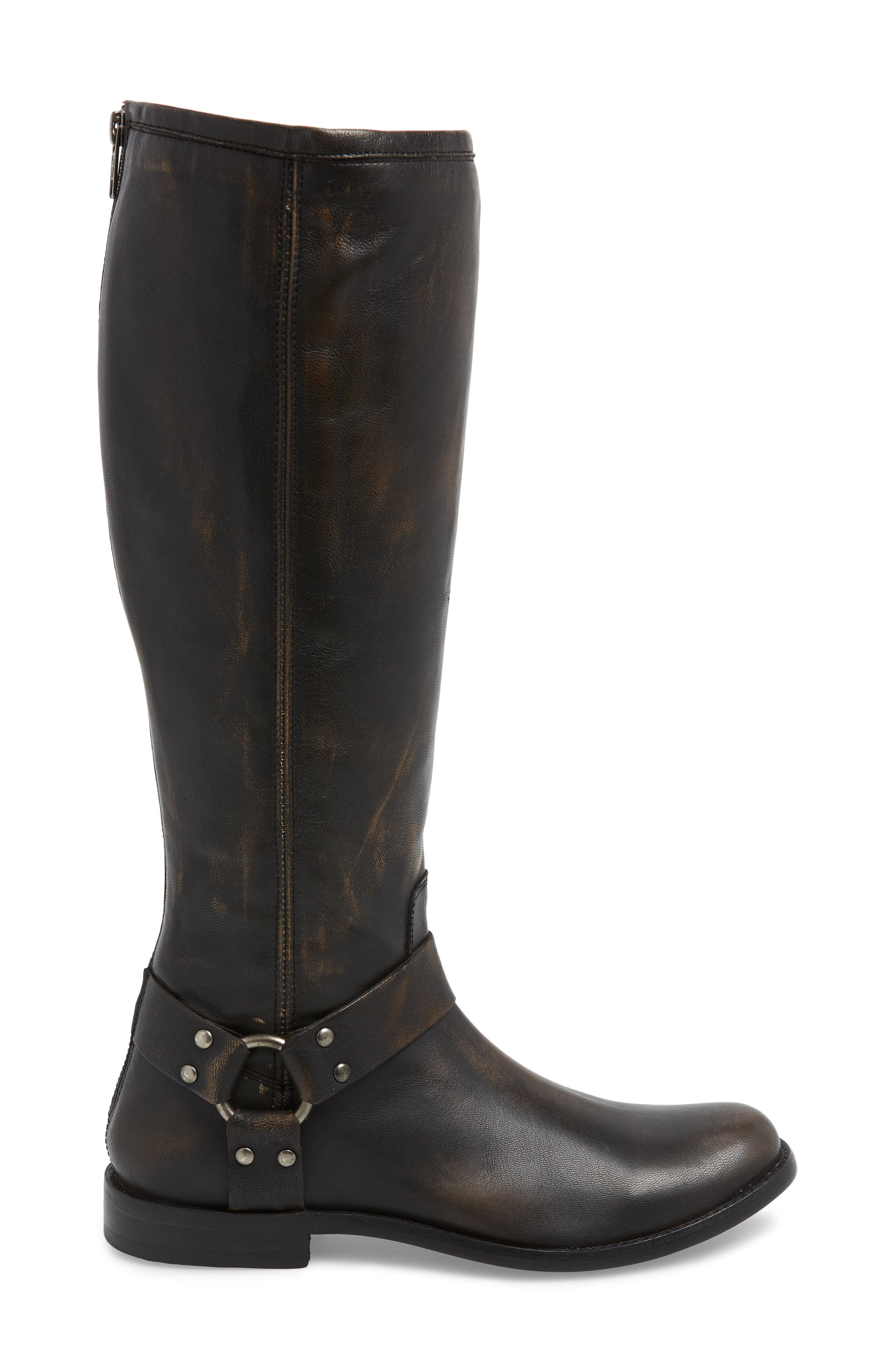 Phillip Harness Tall Boot,                             Alternate thumbnail 3, color,                             DARK BROWN LEATHER