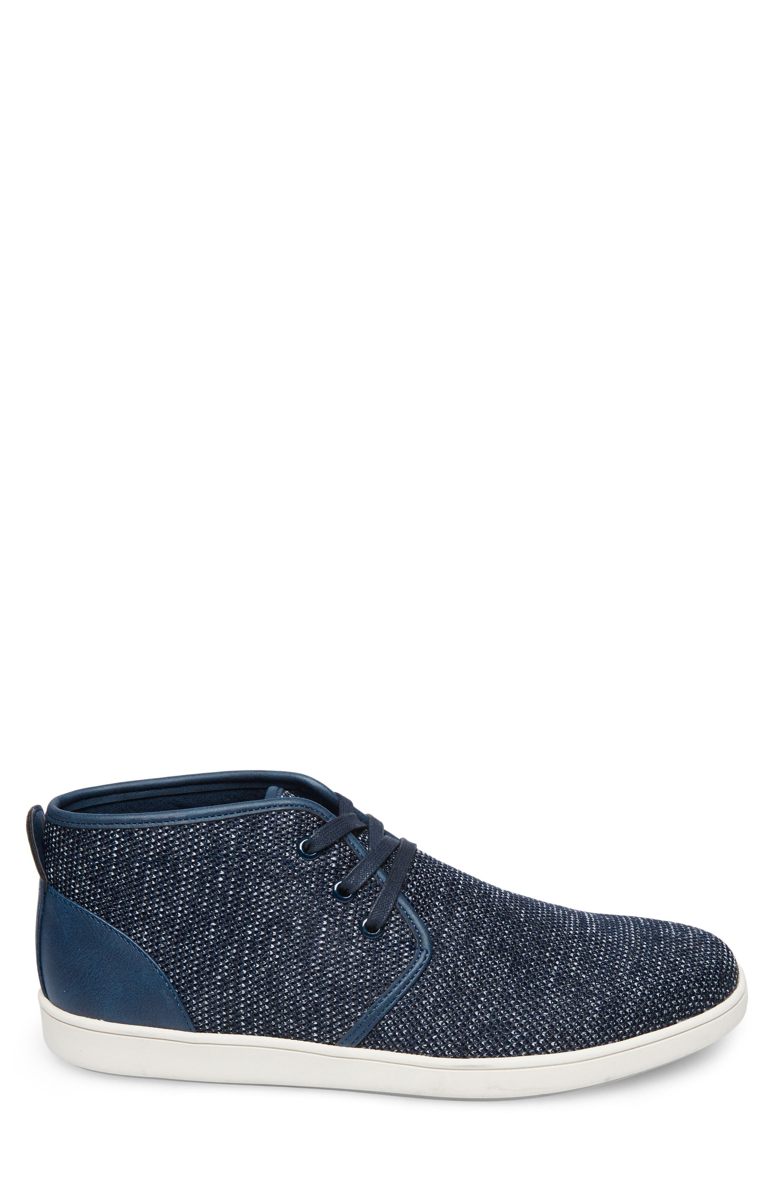 Fowler Knit Mid Top Sneaker,                             Alternate thumbnail 3, color,                             NAVY LEATHER