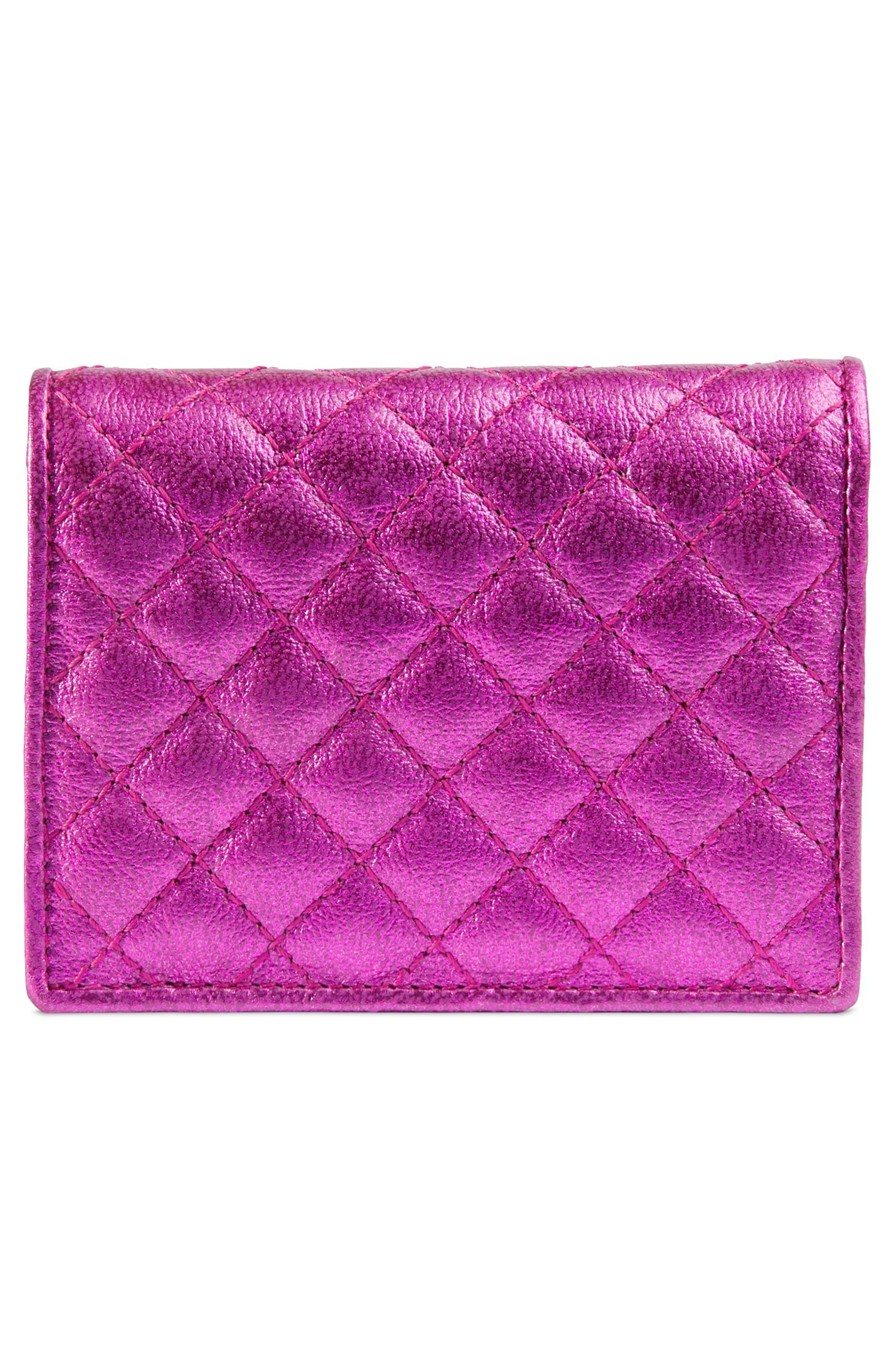 Quilted Leather Card Case,                             Alternate thumbnail 3, color,                             FUXIA