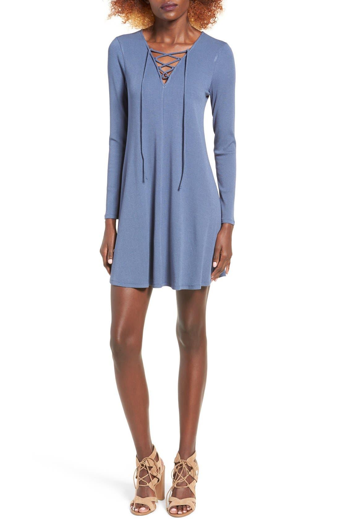 Rib Knit Lace-Up Swing Dress,                             Main thumbnail 3, color,