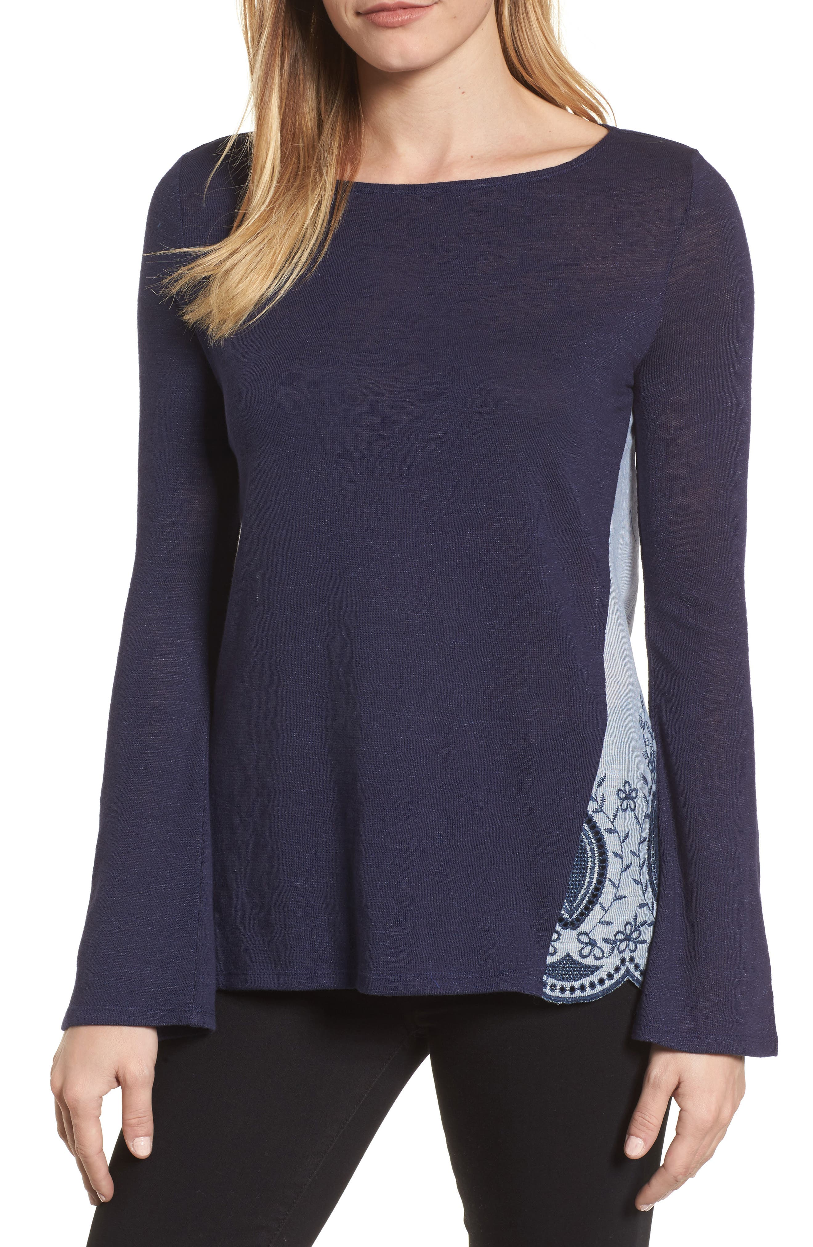 Embroidered Mixed Media Top,                         Main,                         color, 410