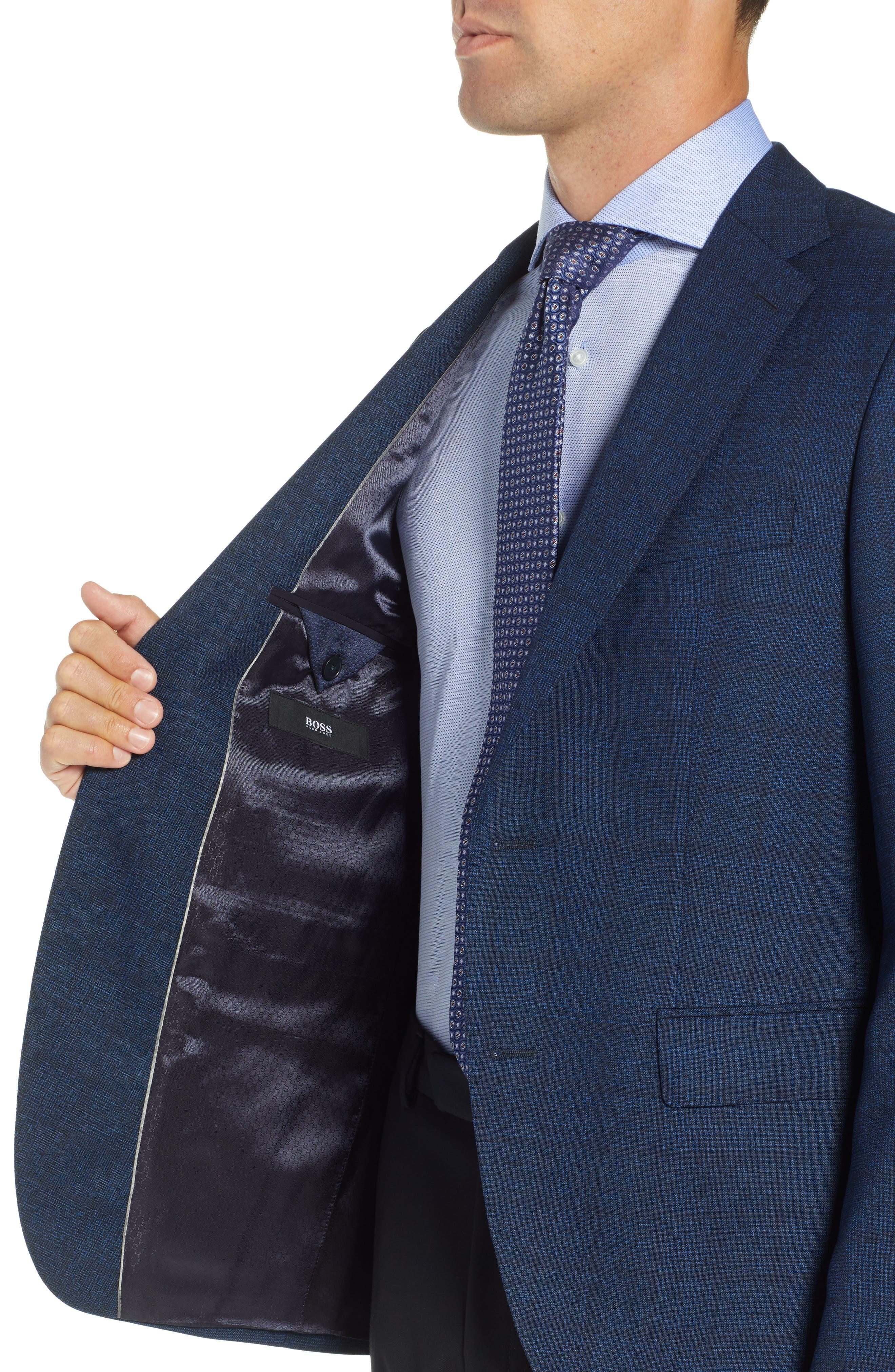 Jewels Classic Fit Plaid Wool Sport Coat,                             Alternate thumbnail 4, color,                             DARK BLUE