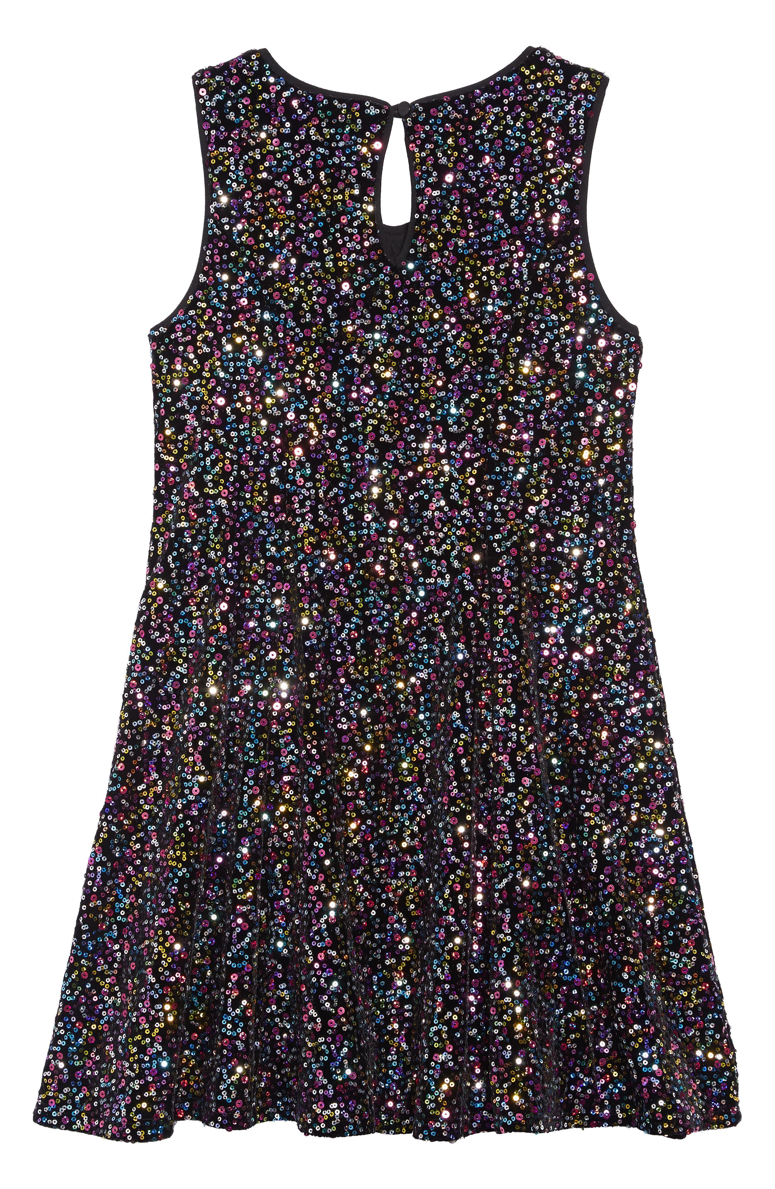 Velvet Sequin Embellished Dress,                             Alternate thumbnail 2, color,                             BLACK MULTI
