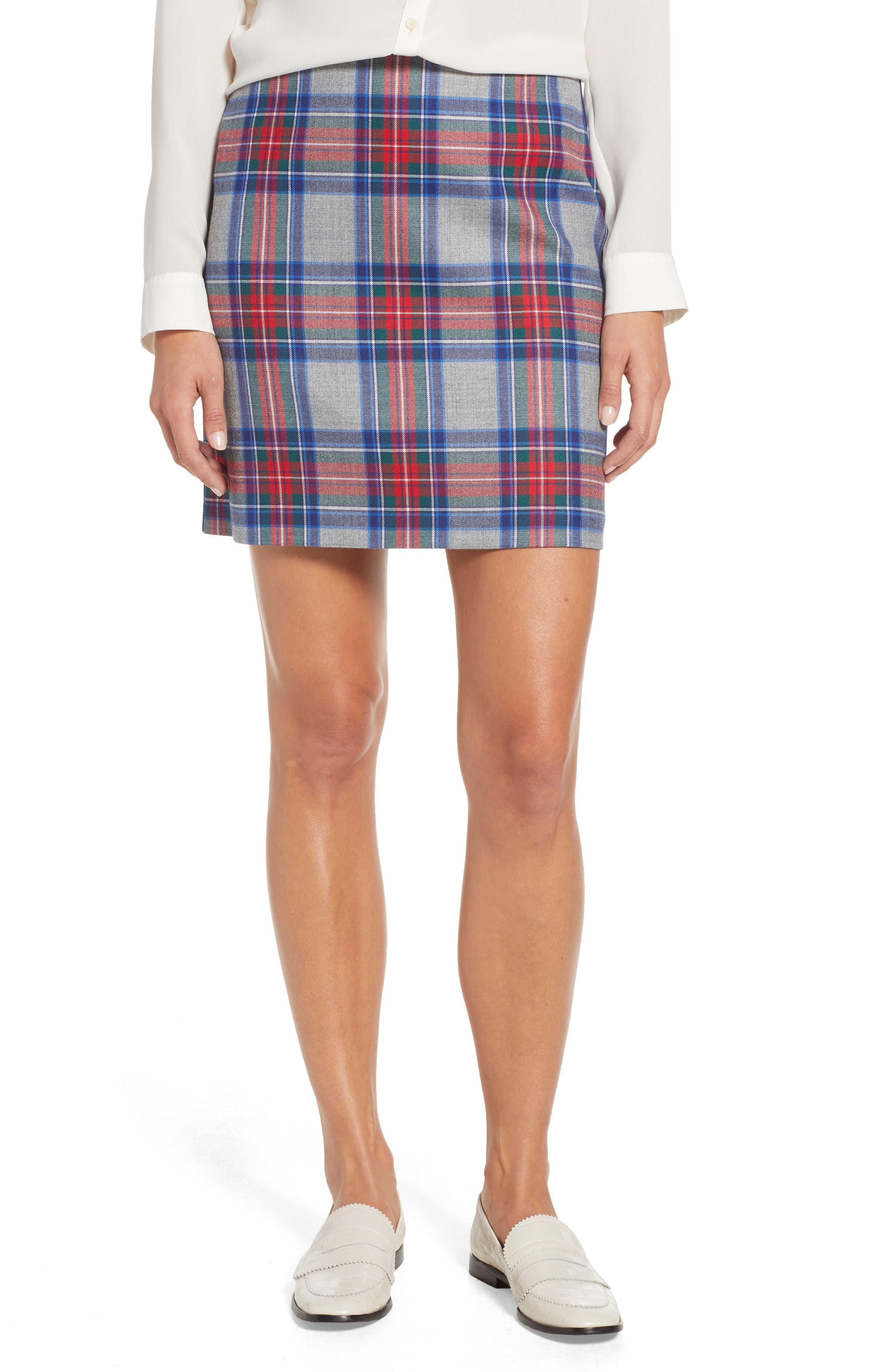 Jolly Plaid Miniskirt,                         Main,                         color, GRAY HEATHER
