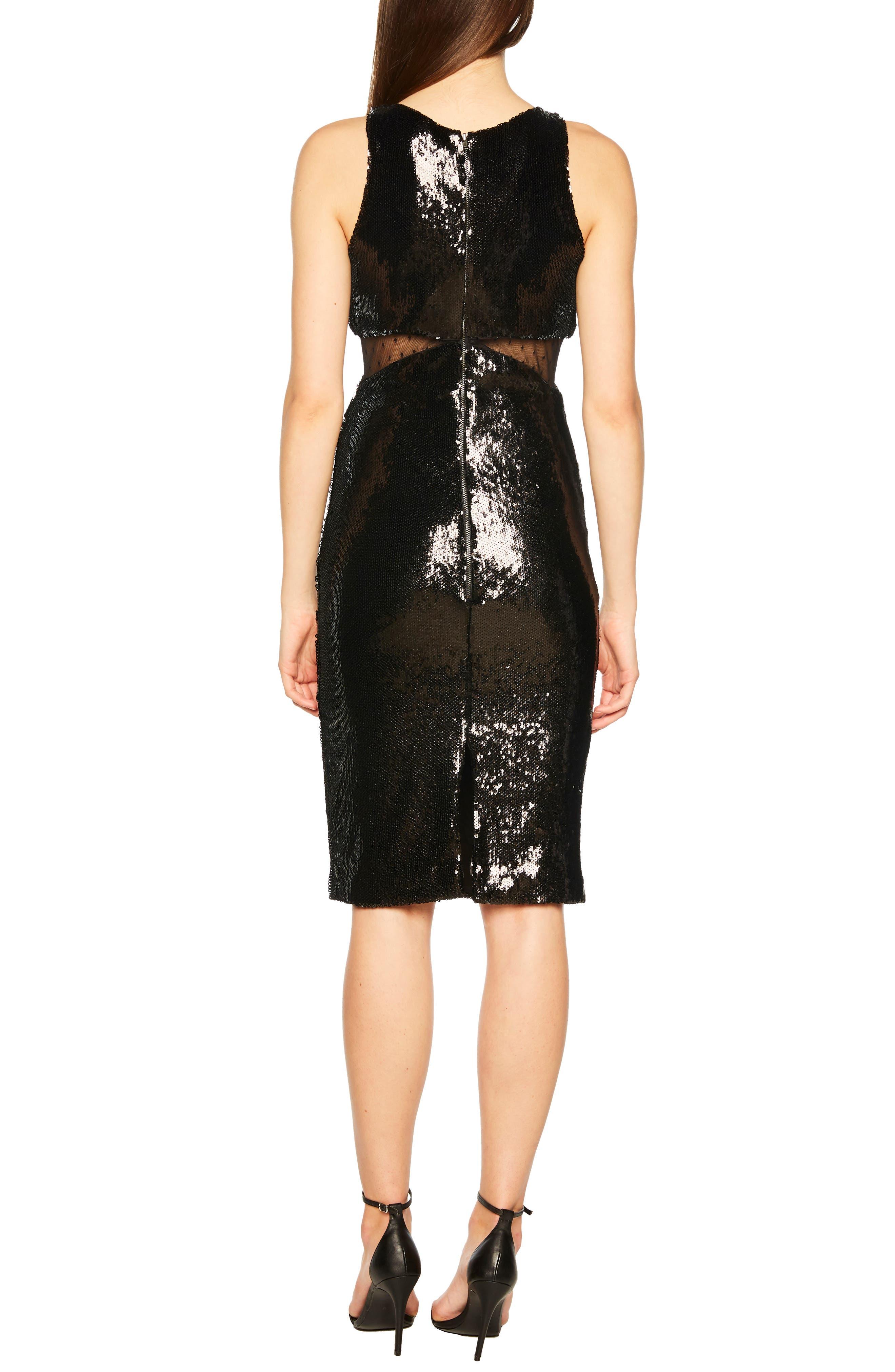 BARDOT,                             Splice Sequin Sheath Dress,                             Alternate thumbnail 2, color,                             BLACK