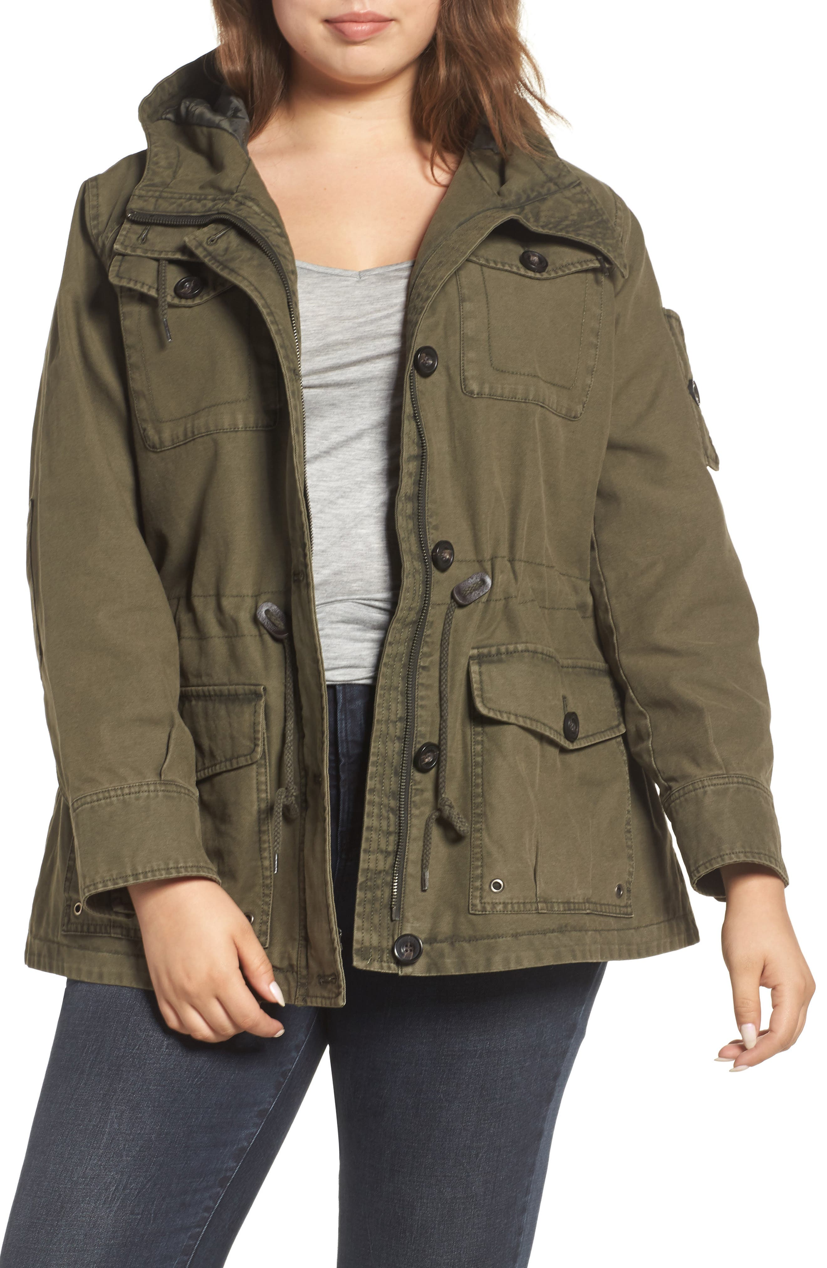 Hooded Cotton Utility Jacket,                             Main thumbnail 3, color,