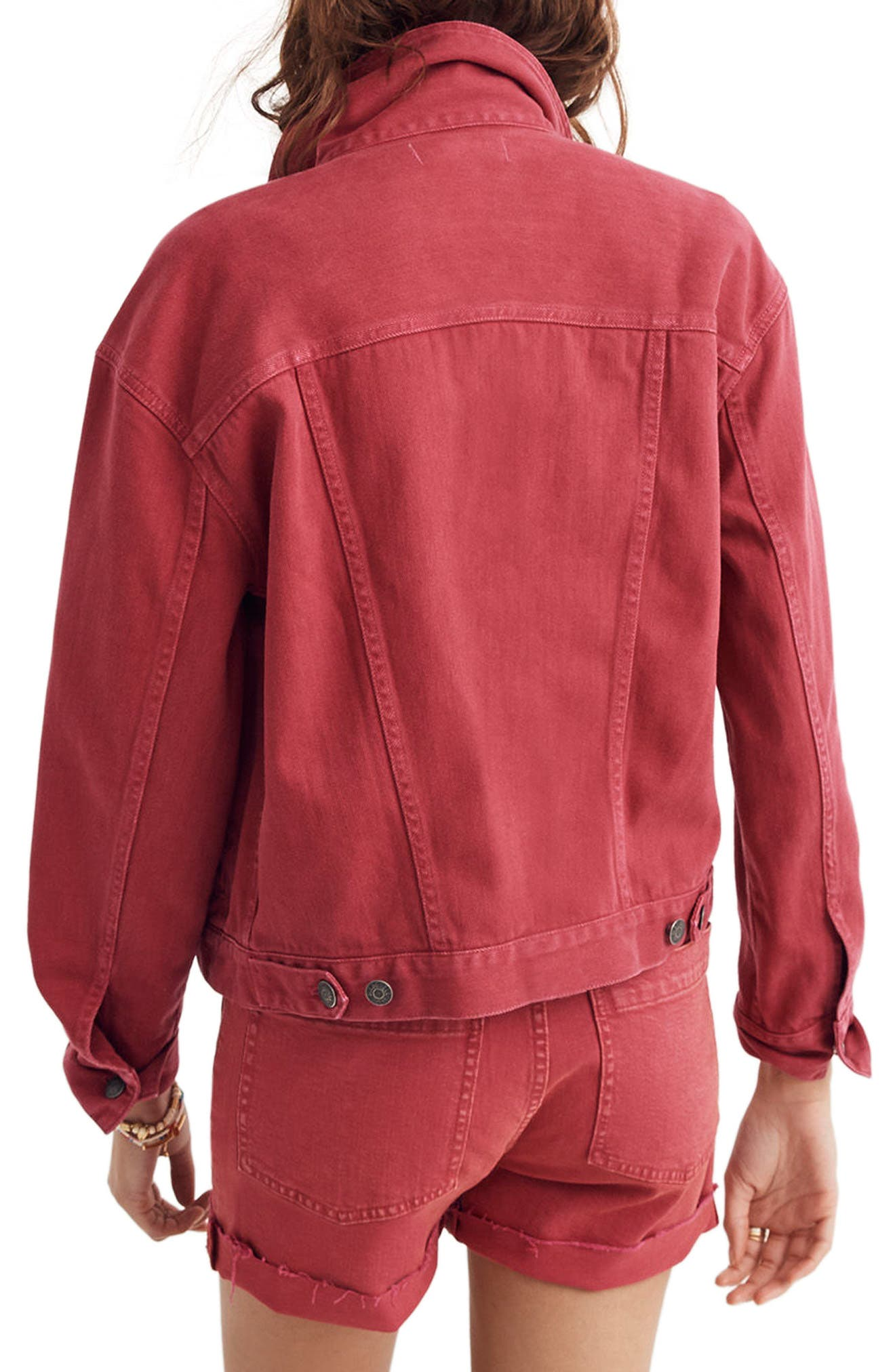 Garment Dyed Boxy Crop Jean Jacket,                             Alternate thumbnail 2, color,