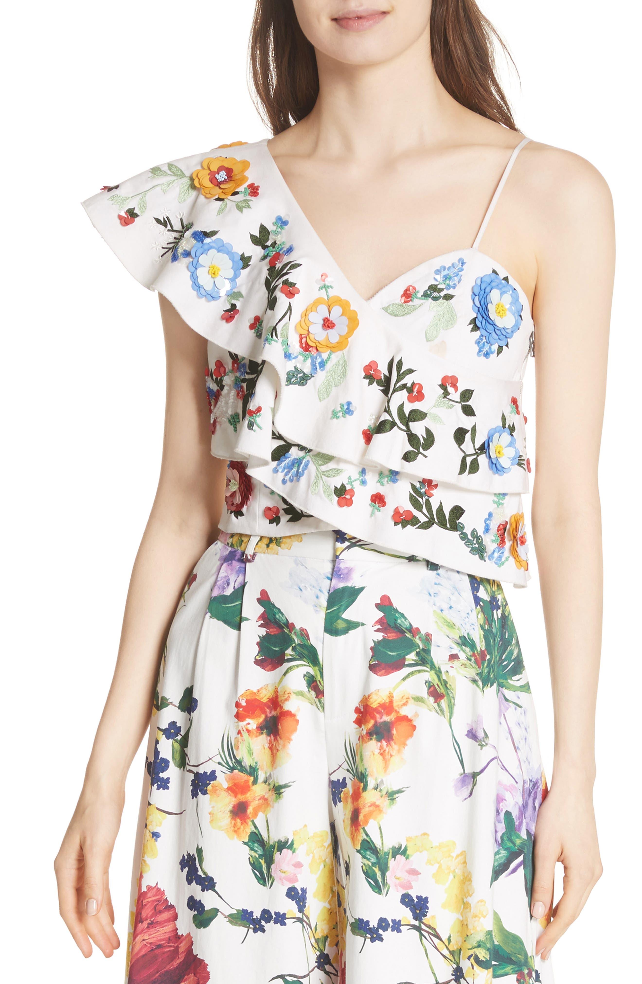 Embellished One-Shoulder Top,                         Main,                         color,