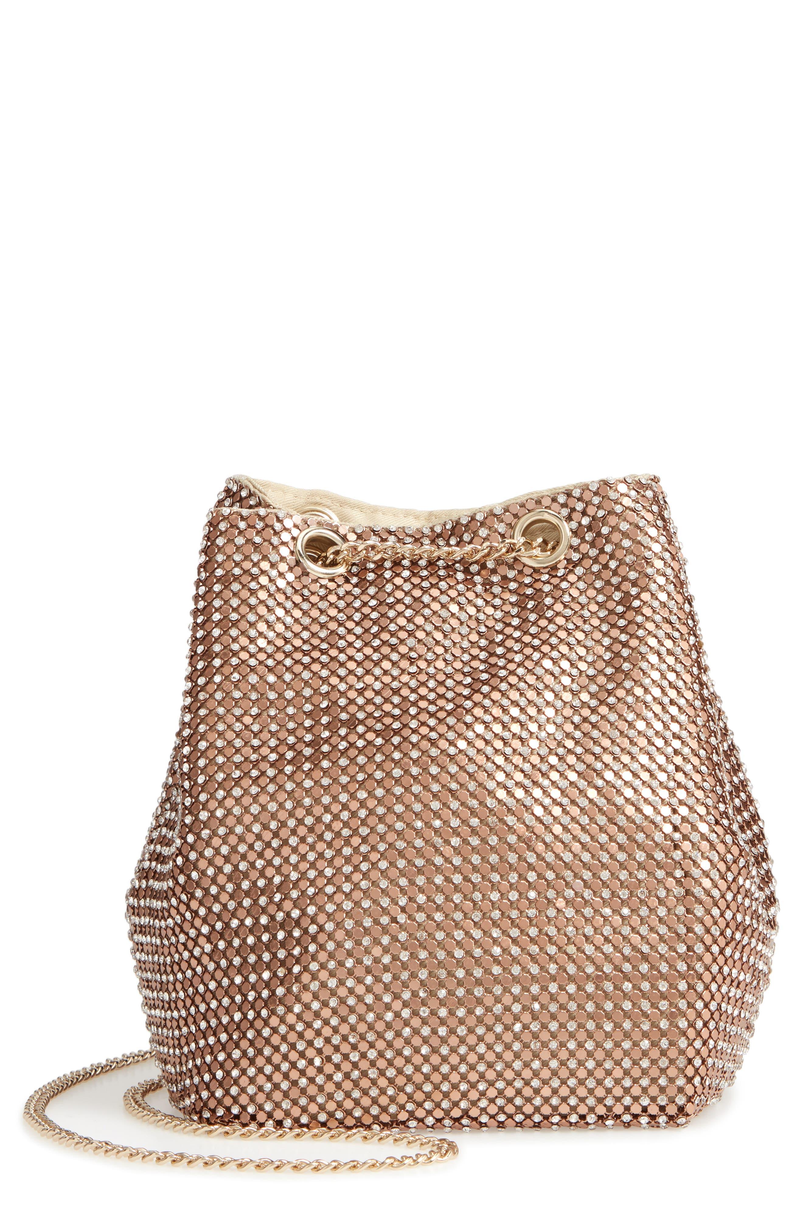 Crystal Mesh Crossbody Bucket Bag,                             Main thumbnail 1, color,                             ROSE GOLD