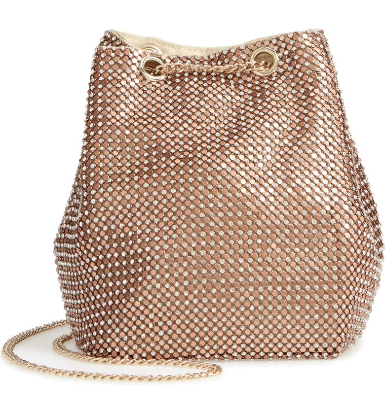 Crystal Mesh Crossbody Bucket Bag, Main, color, ROSE GOLD