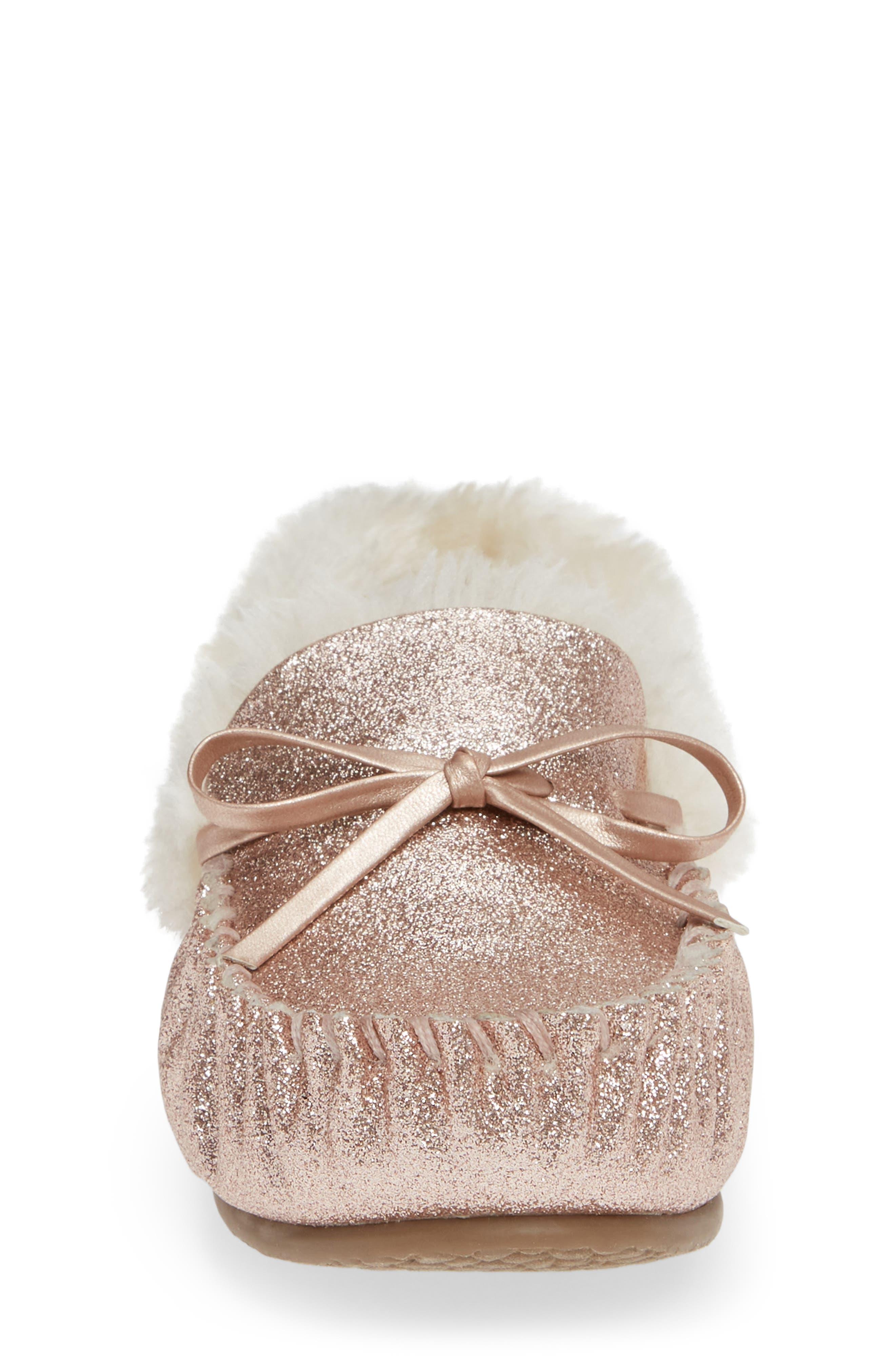 Mila Faux Fur Moccasin Slipper,                             Alternate thumbnail 4, color,                             710