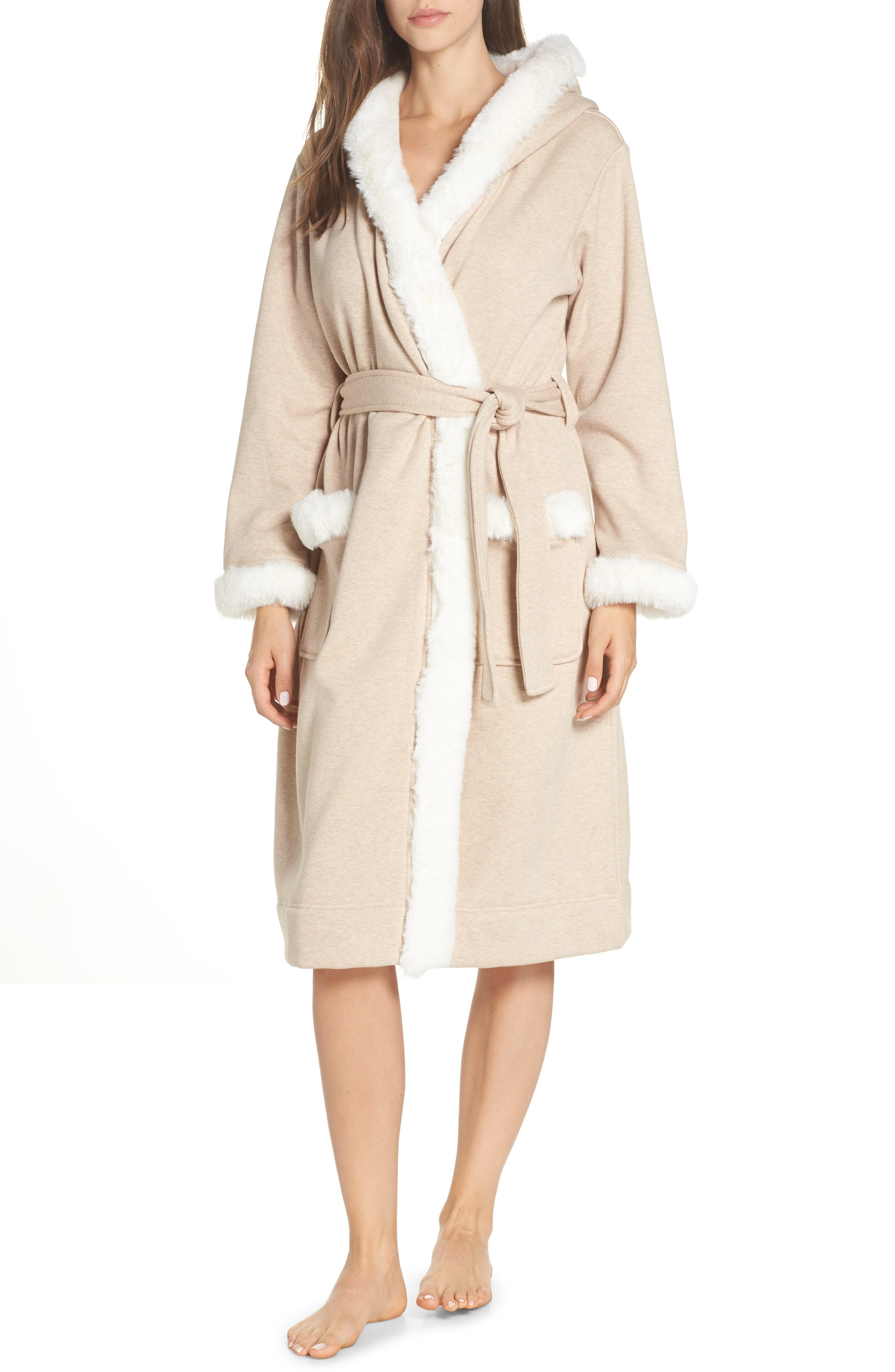 Duffield II Deluxe Faux Fur Trim Robe,                             Main thumbnail 1, color,                             OATMEAL HEATHER