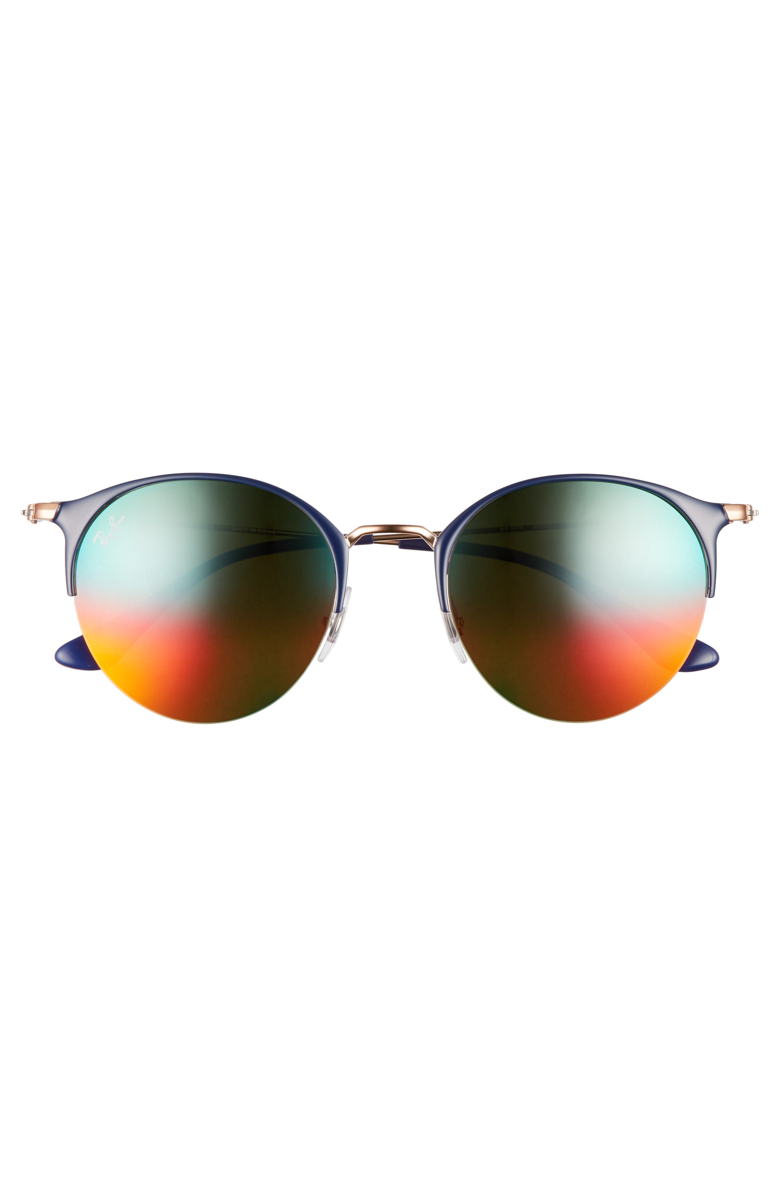 50mm Round Sunglasses,                             Alternate thumbnail 2, color,                             GOLD BLUE/ BROWN MIRROR