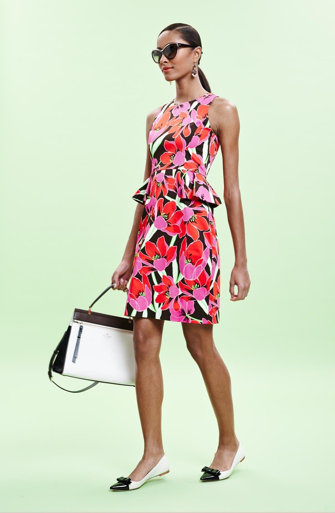 KATE SPADE NEW YORK,                             tropical print peplum sheath dress,                             Alternate thumbnail 4, color,                             650