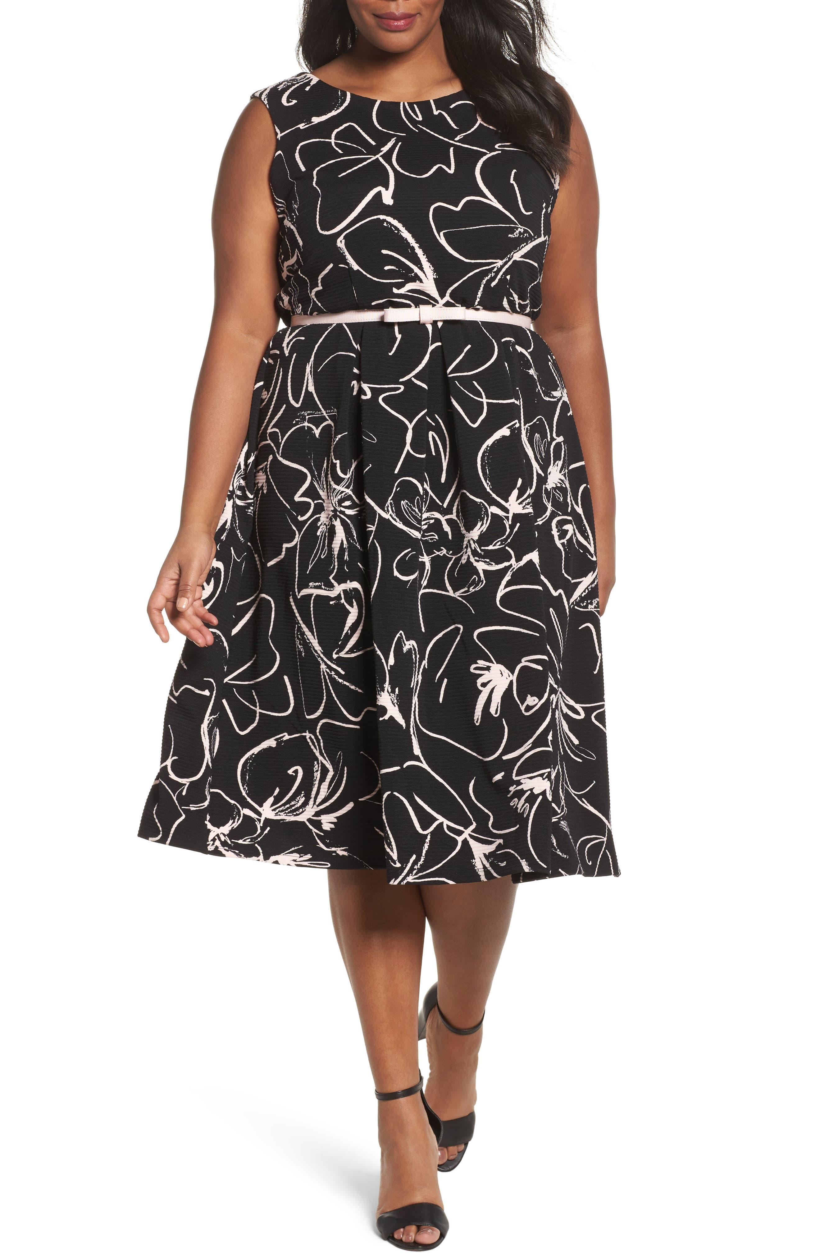 Print Fit & Flare Dress,                         Main,                         color,