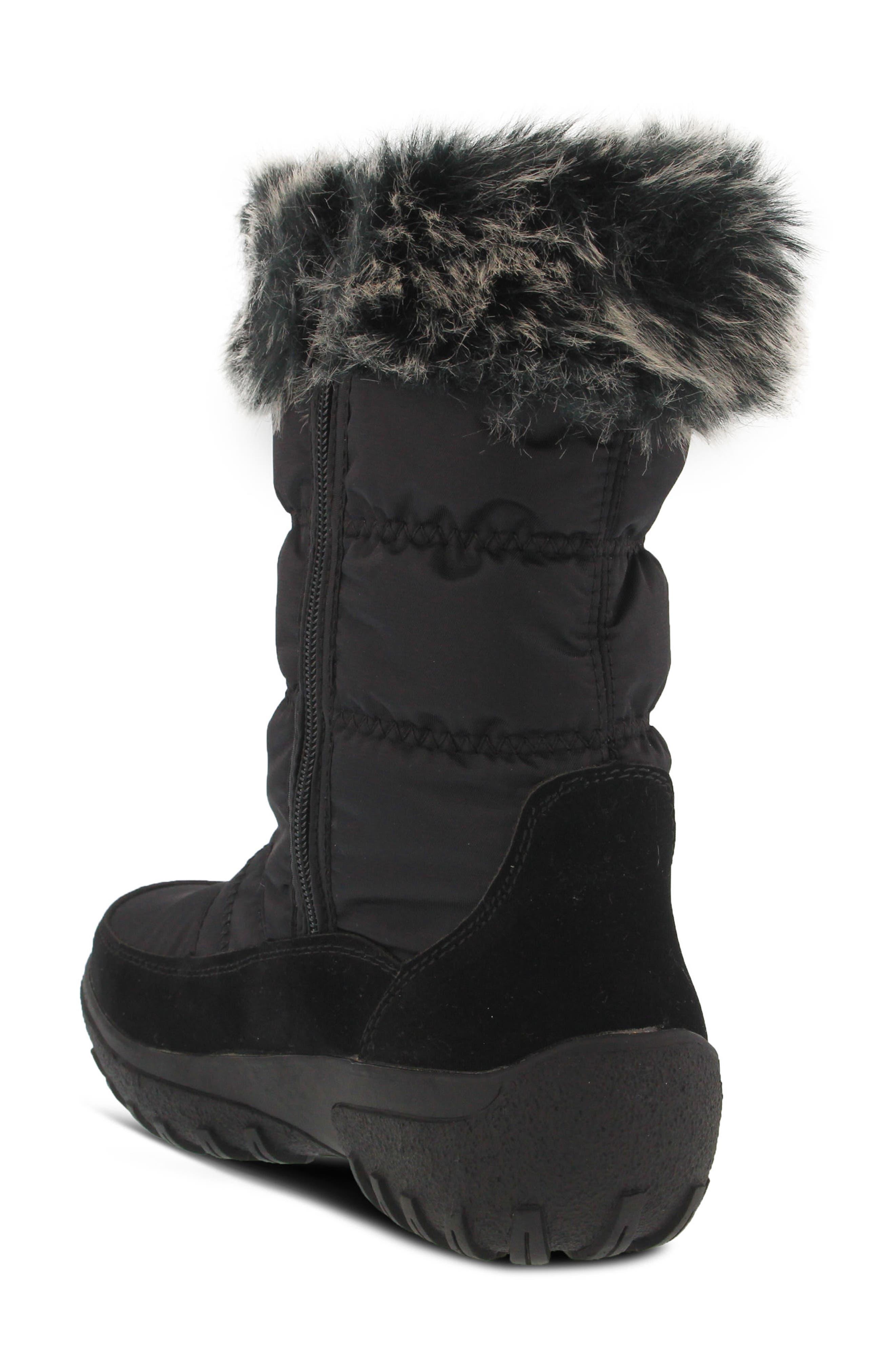 Rolim Faux Fur Trim Waterproof Boot,                             Alternate thumbnail 2, color,                             BLACK