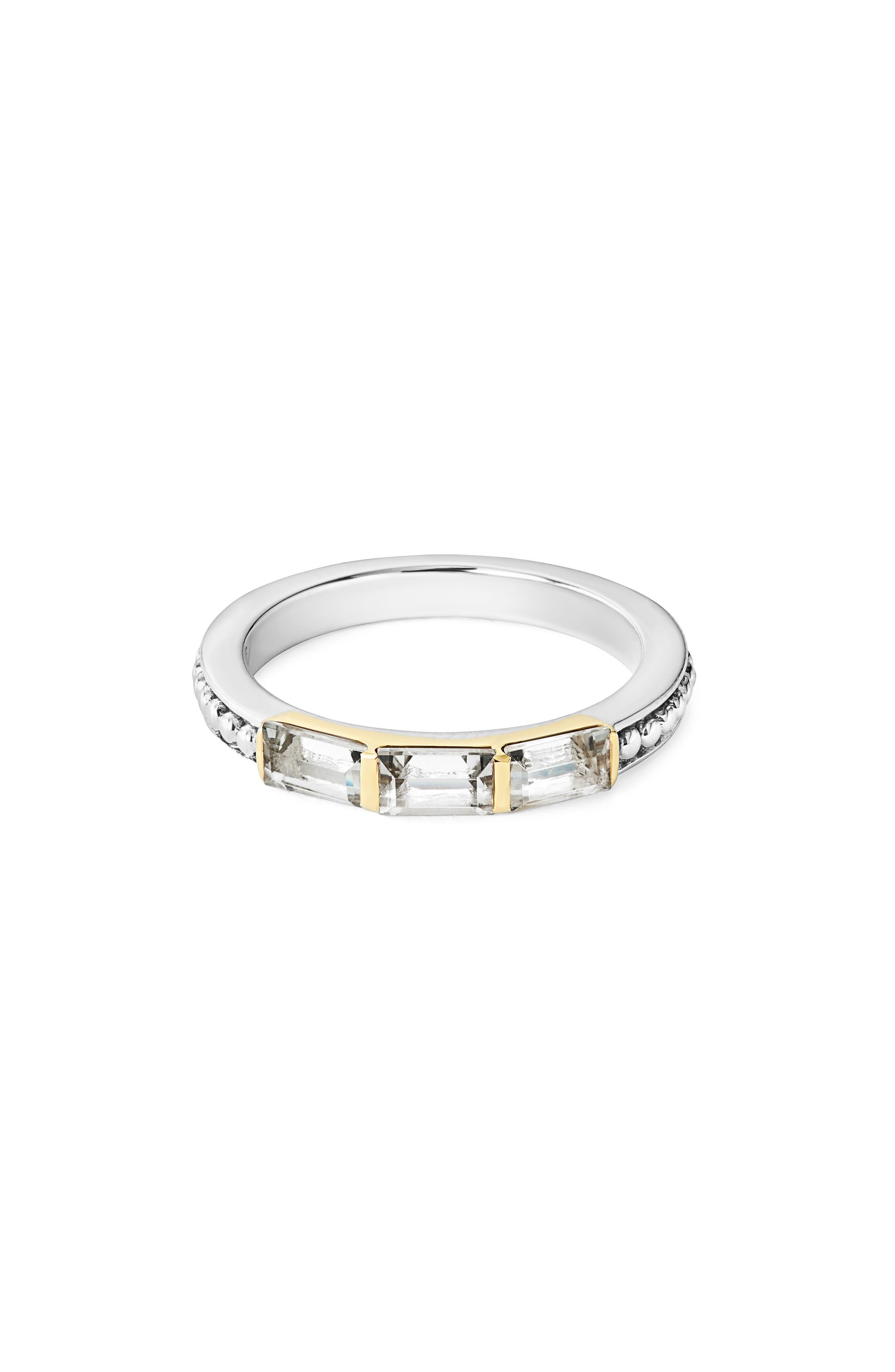 Gemstone Baguette Stackable Ring,                             Main thumbnail 1, color,                             SILVER/ 18K GOLD/ WHITE TOPAZ