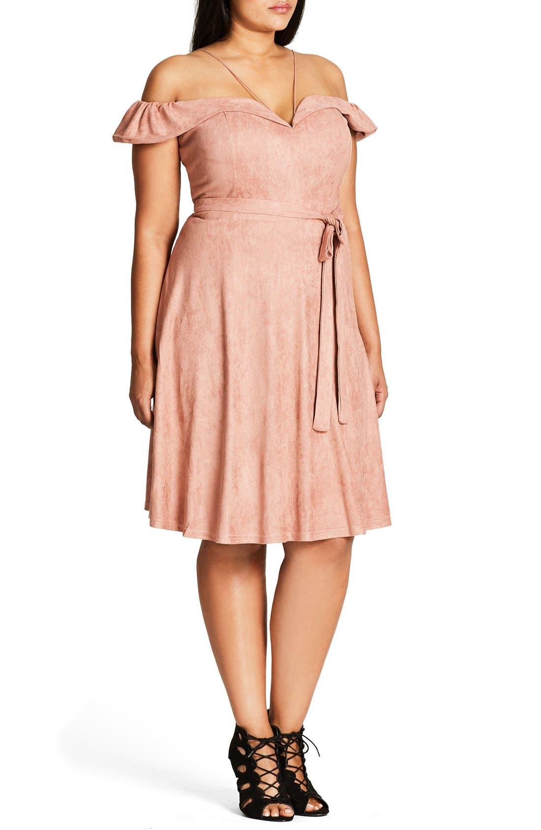 Ooh La La Faux Suede Dress,                             Alternate thumbnail 14, color,
