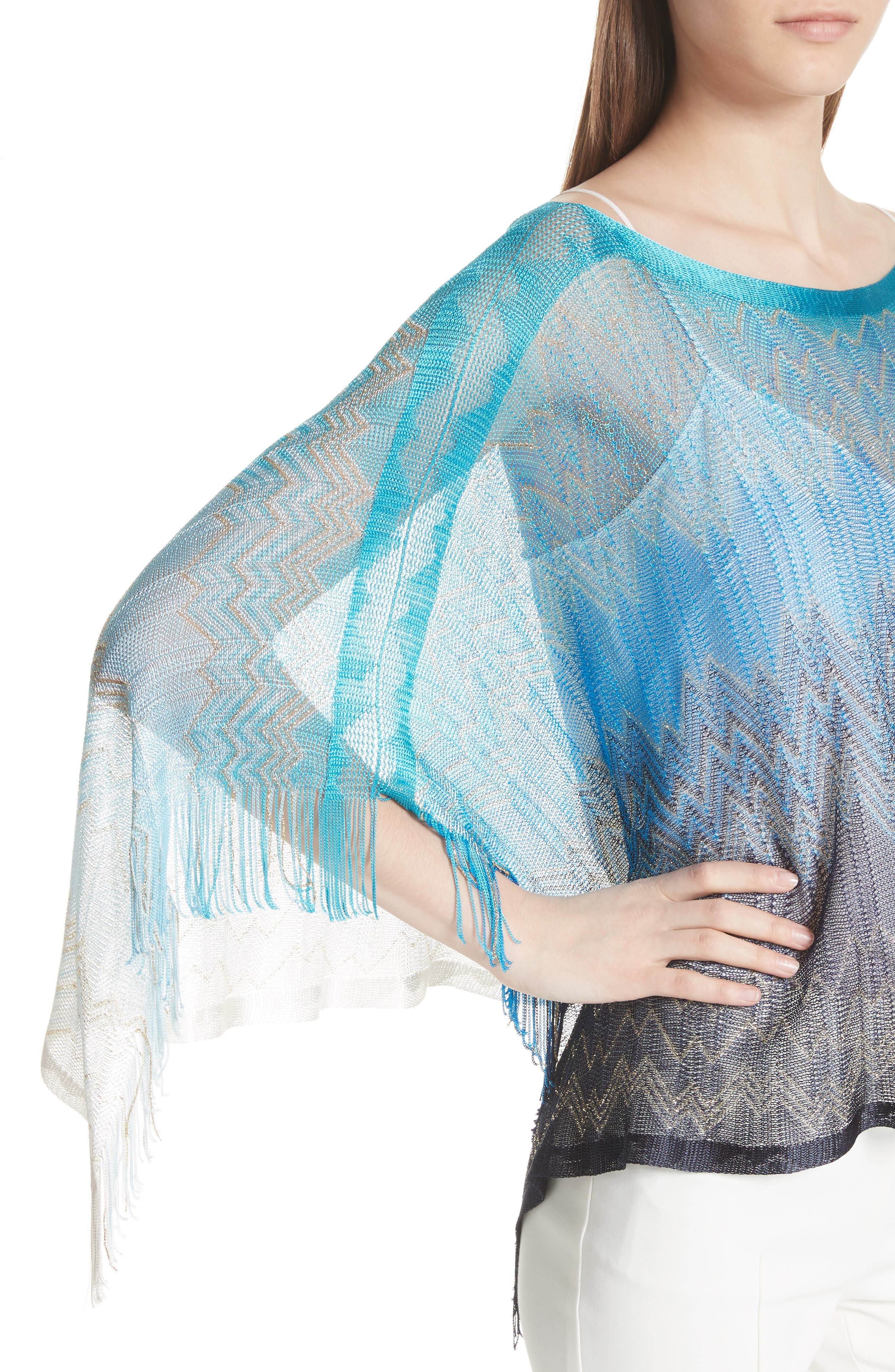 Zigzag Cover-Up Tunic,                             Alternate thumbnail 4, color,                             BLUE