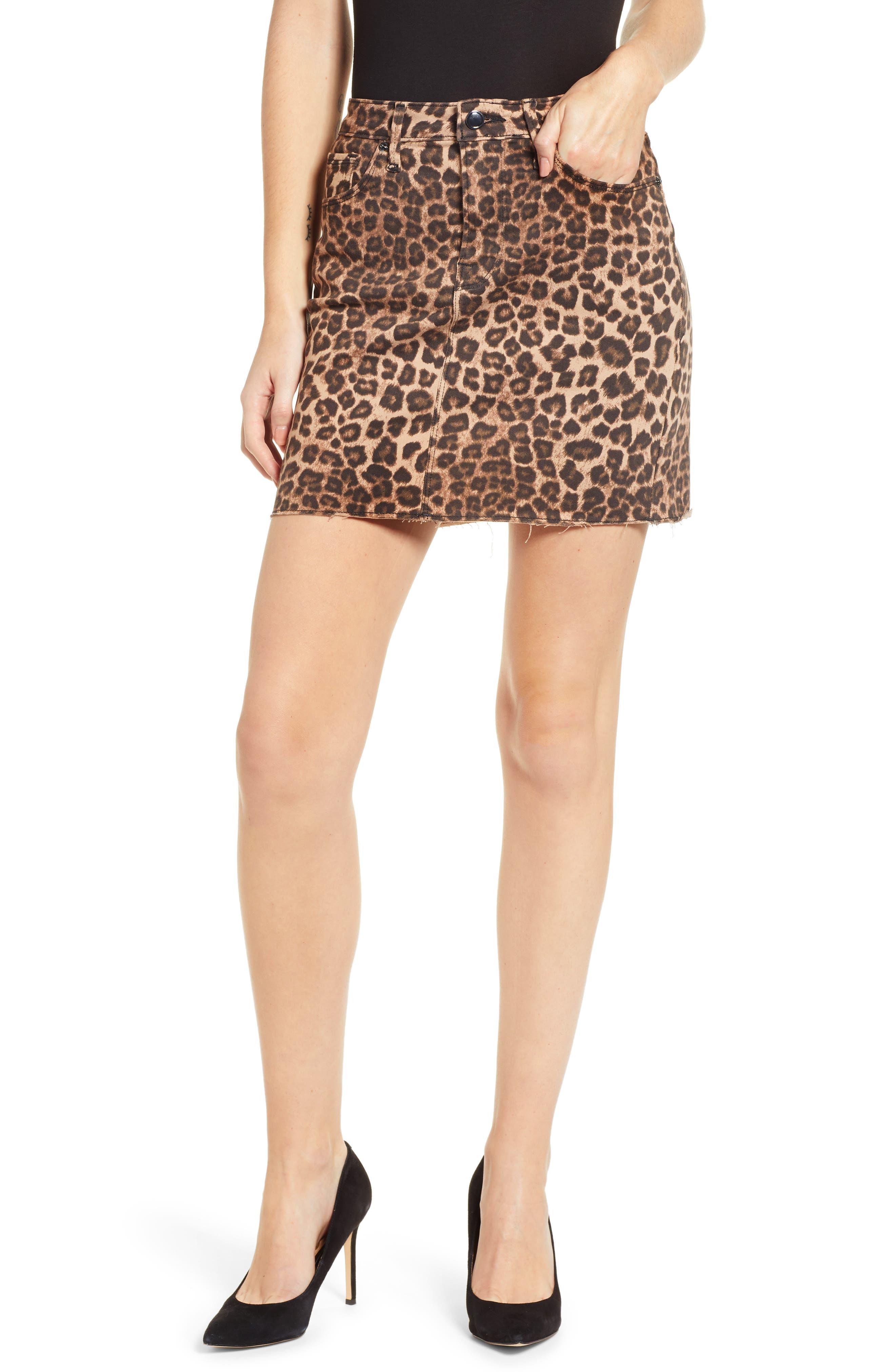 GOOD AMERICAN,                             Cheetah Print Raw Edge Miniskirt,                             Main thumbnail 1, color,                             CHEETAH001