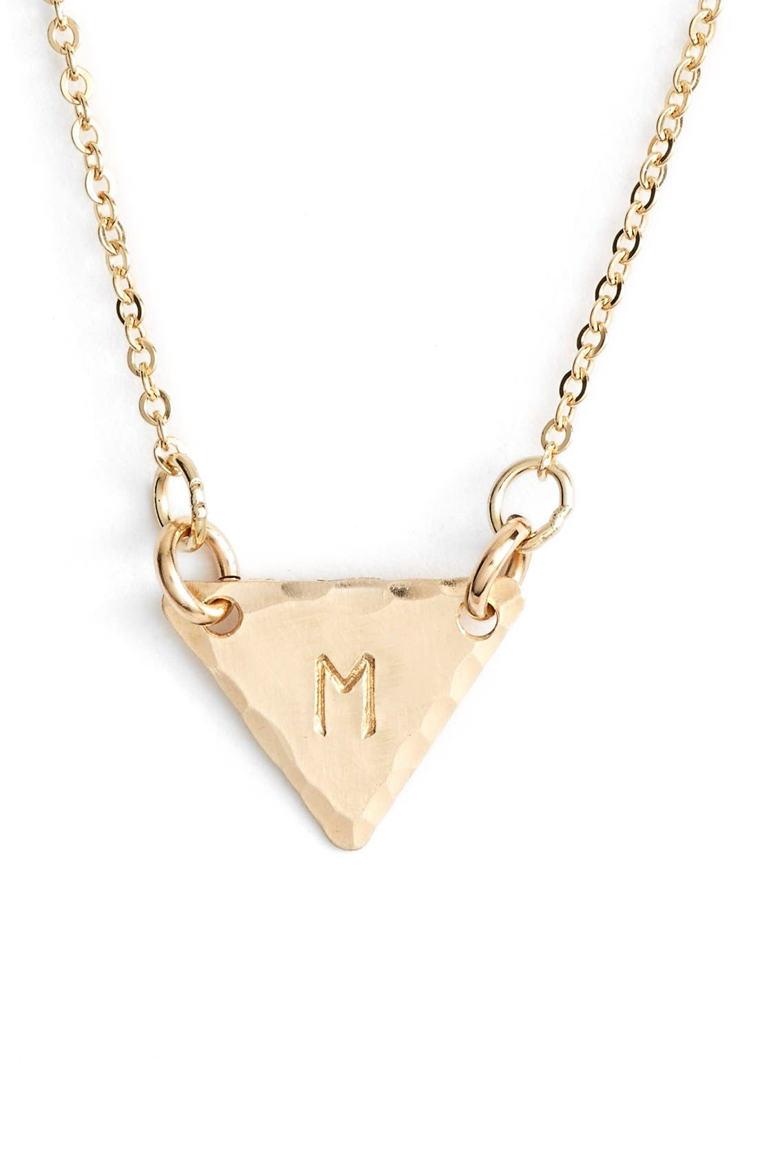 14k-Gold Fill Initial Triangle Necklace,                             Main thumbnail 13, color,