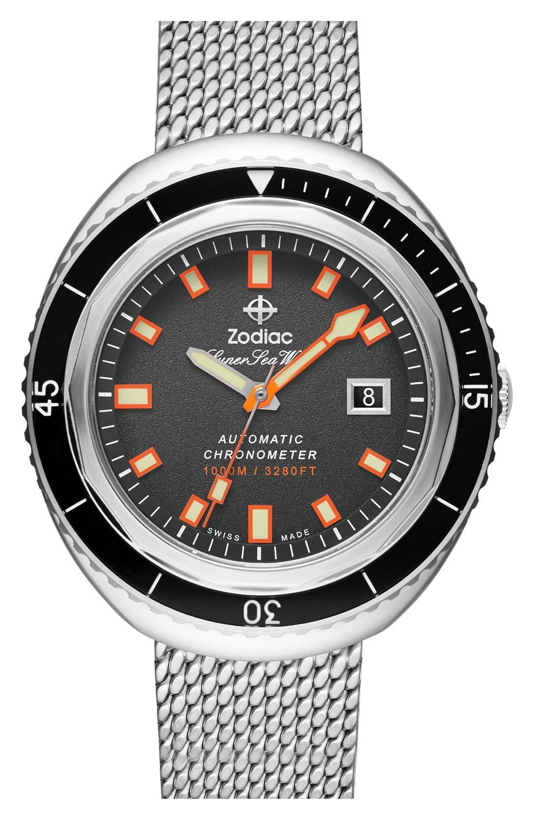 ZODIAC,                             'Super Sea Wolf' Mesh Strap Diver Watch, 50mm,                             Main thumbnail 1, color,                             040