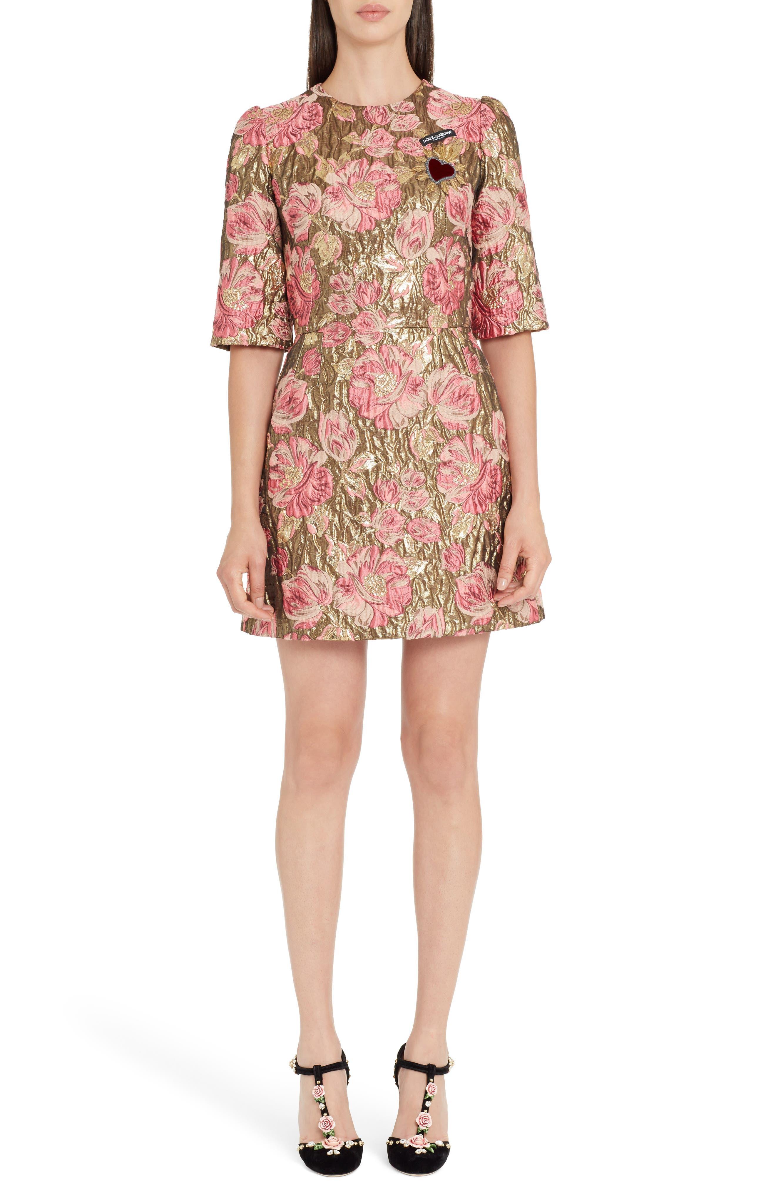 Heart Patch Metallic Floral Jacquard Dress,                         Main,                         color,