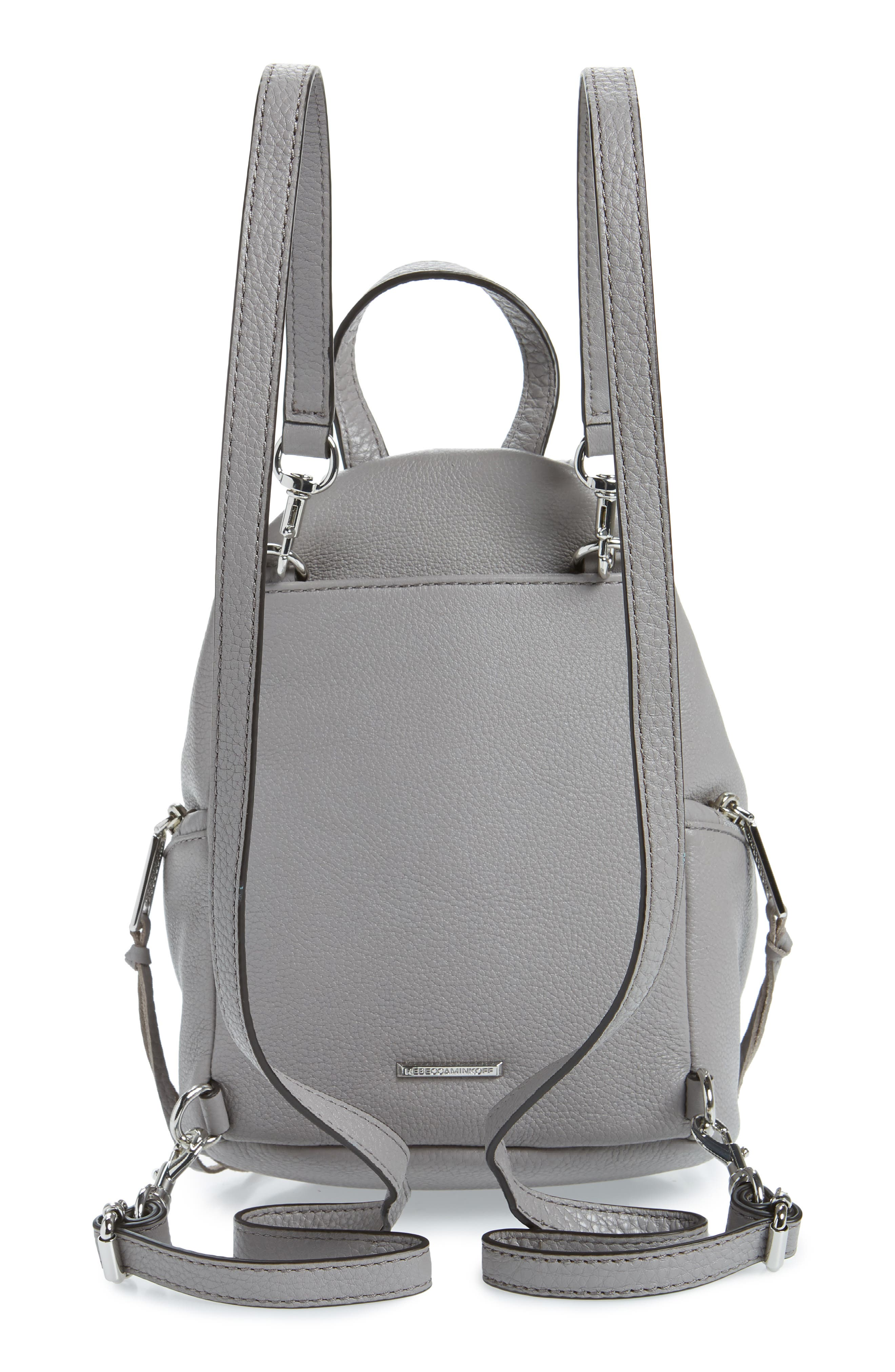 Mini Julian Pebbled Leather Convertible Backpack,                             Alternate thumbnail 3, color,                             GREY