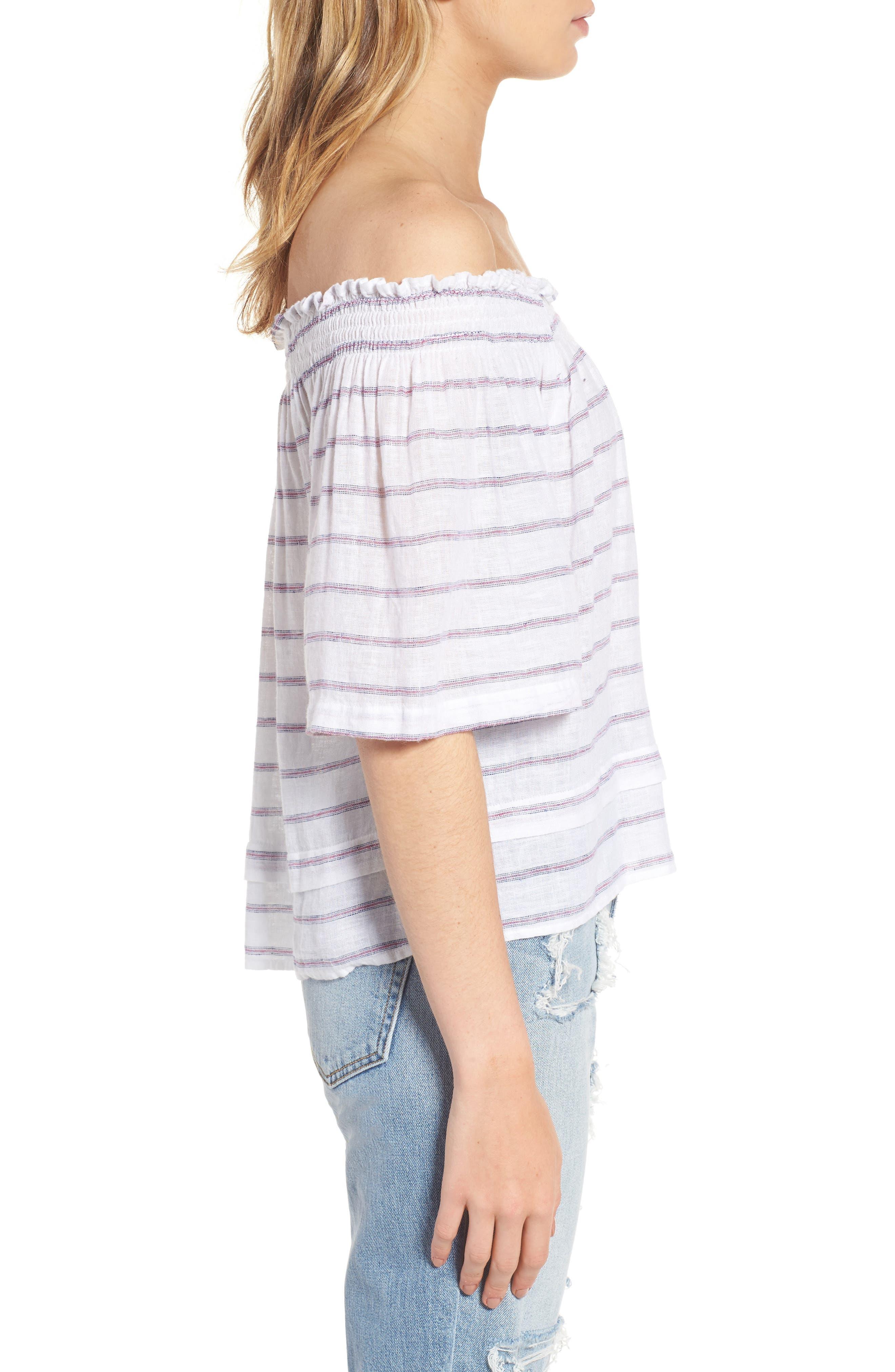Isabelle Off the Shoulder Linen Blend Top,                             Alternate thumbnail 3, color,                             114