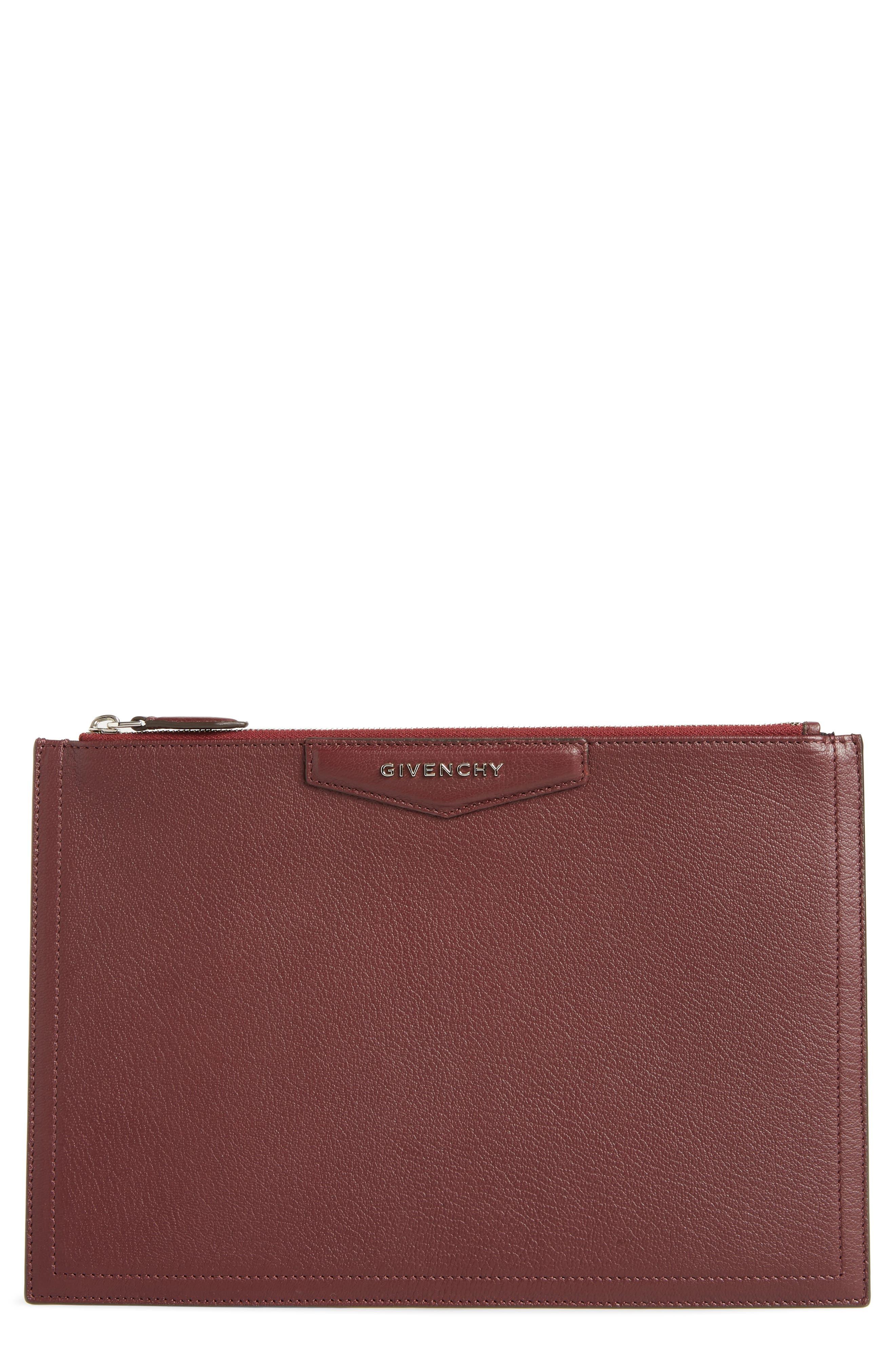 Medium Antigona Leather Pouch,                             Main thumbnail 1, color,                             AUBERGINE