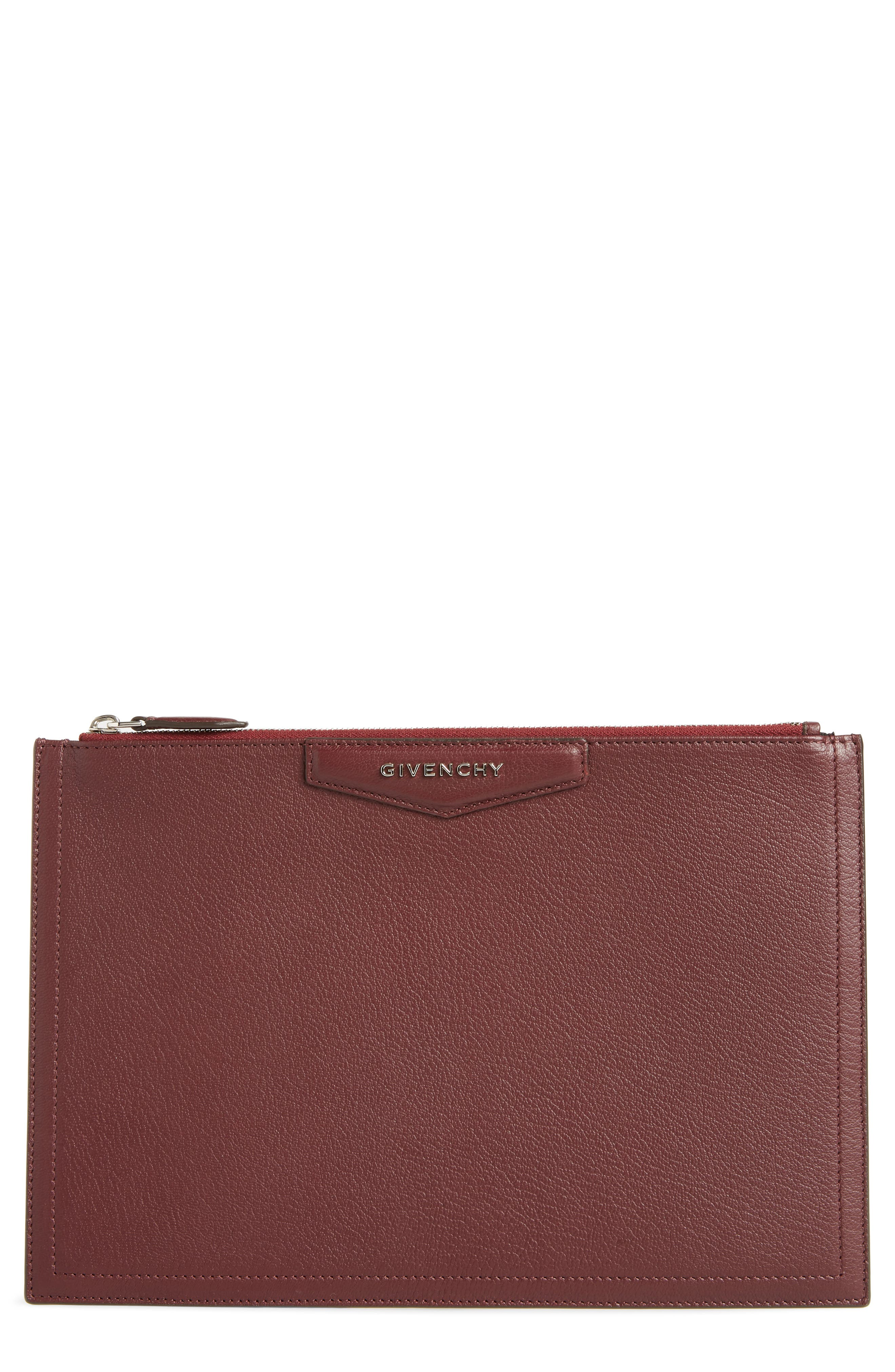 Medium Antigona Leather Pouch,                         Main,                         color, AUBERGINE