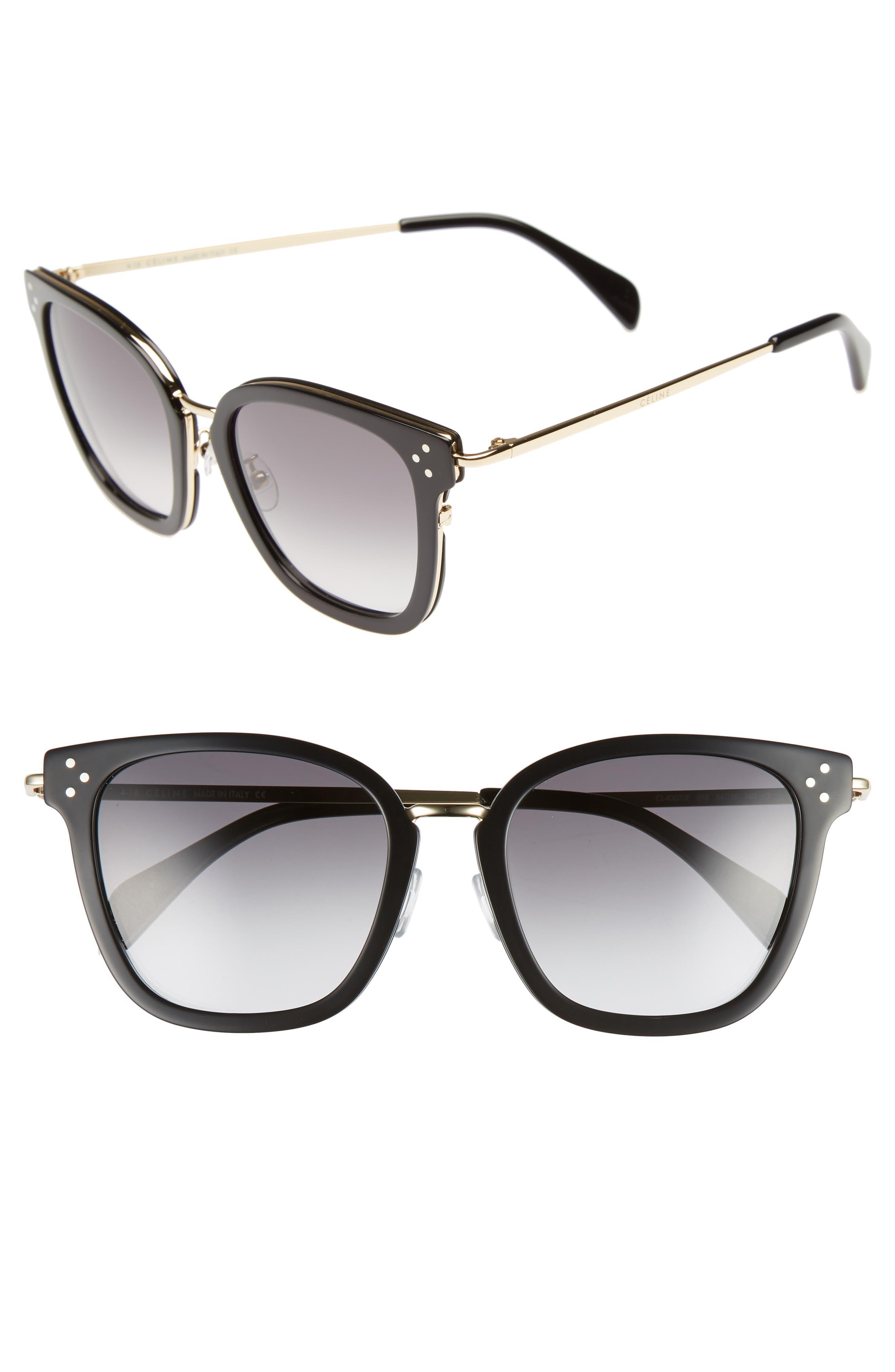 CELINE,                             Special Fit 54mm Sunglasses,                             Main thumbnail 1, color,                             BLACK/ GOLD/ SMOKE
