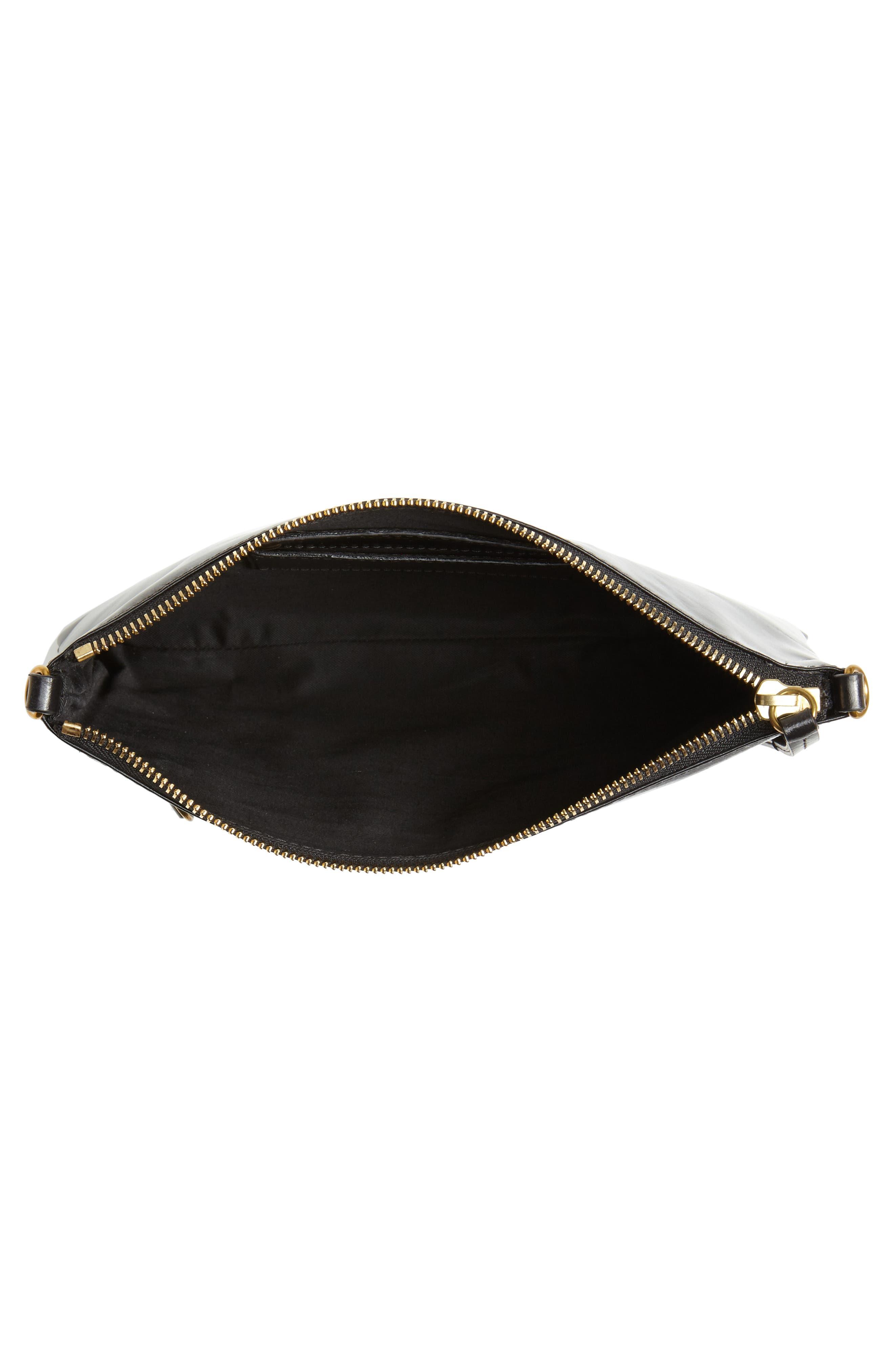 Nessah Leather Crossbody Bag,                             Alternate thumbnail 4, color,                             BLACK