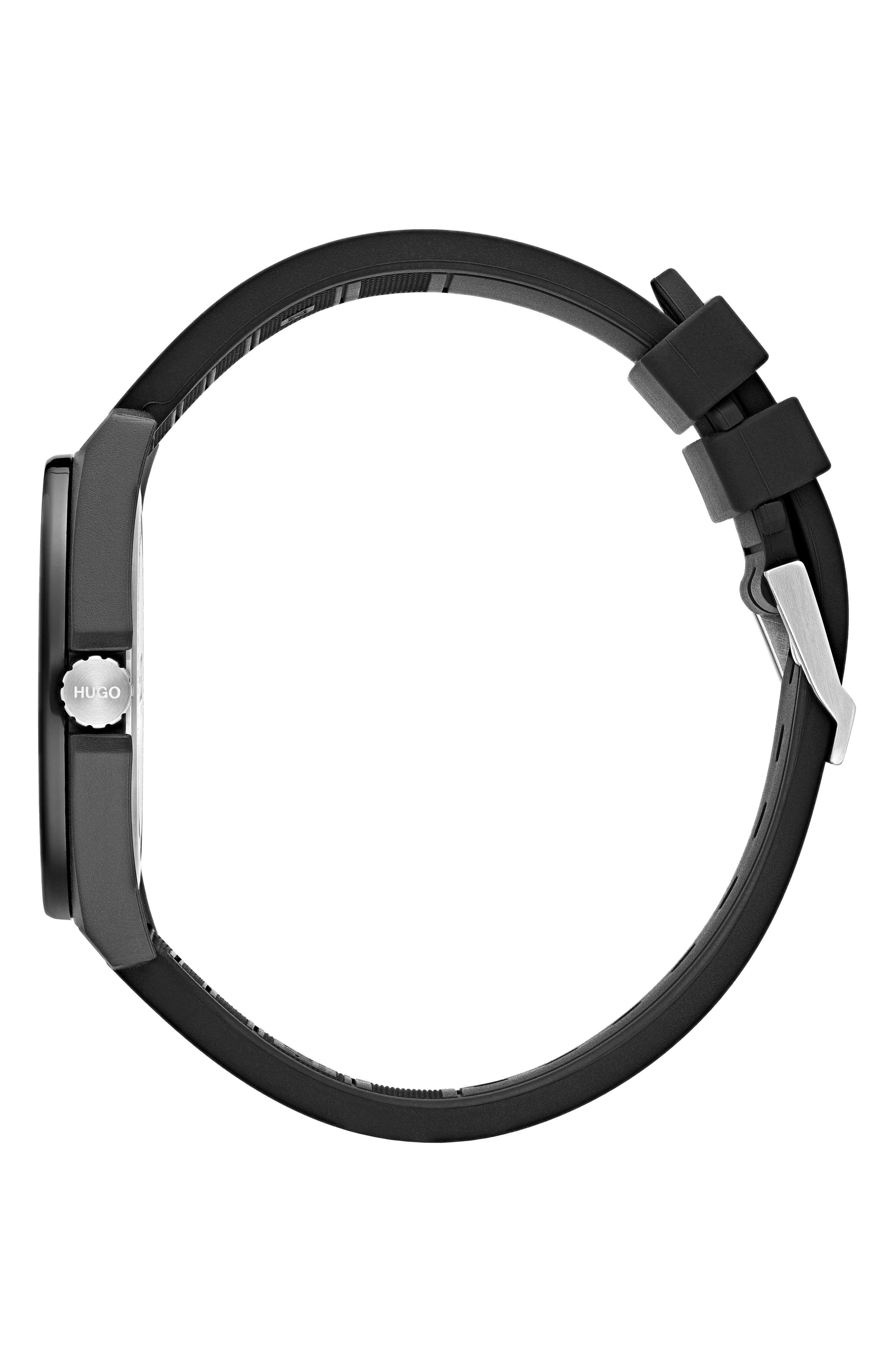 Play Rubber Strap Watch, 40mm,                             Alternate thumbnail 3, color,                             BLACK