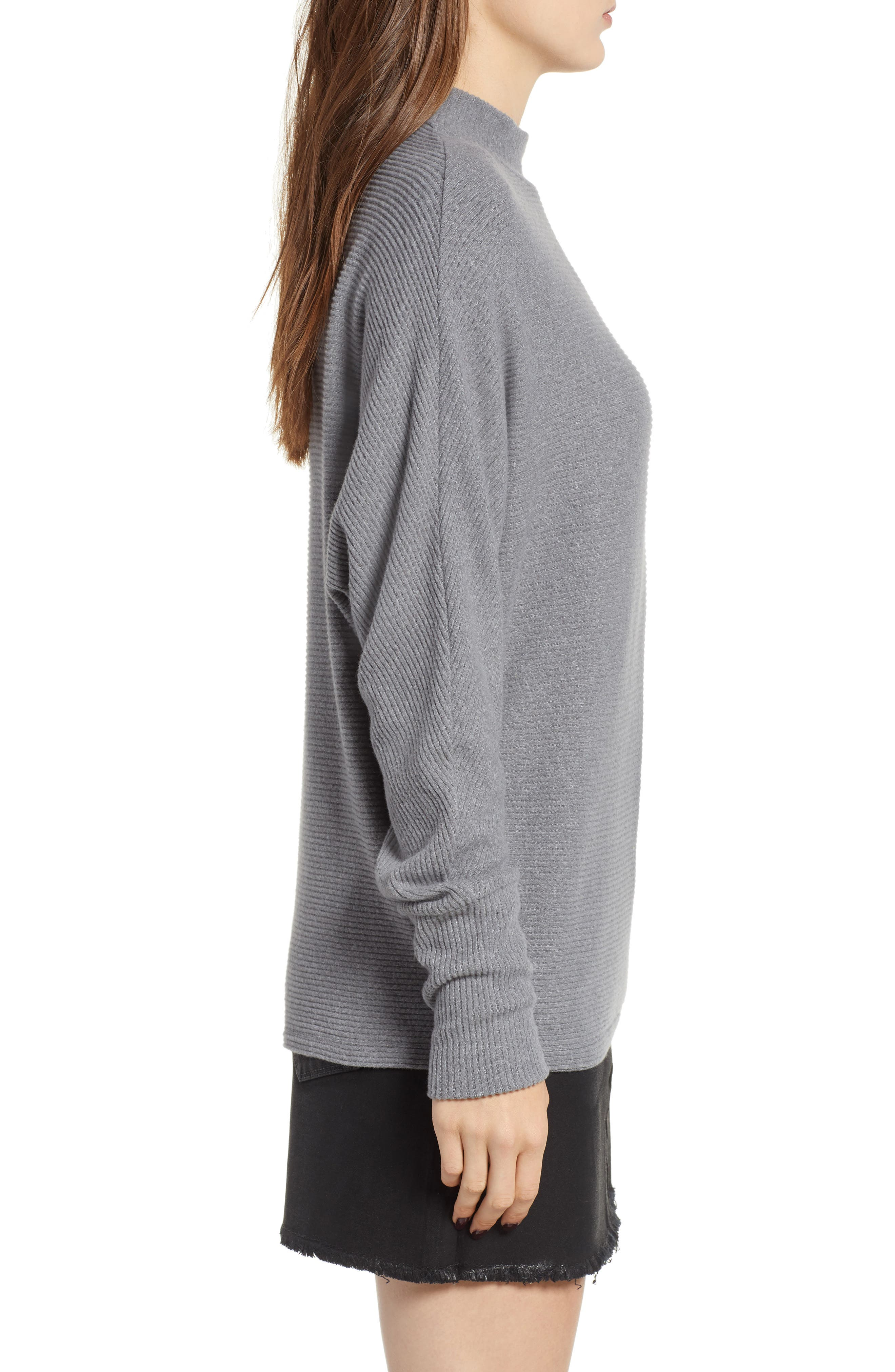 Dolman Sleeve Ribbed Top,                             Alternate thumbnail 3, color,                             GREY CLOUDY HEATHER