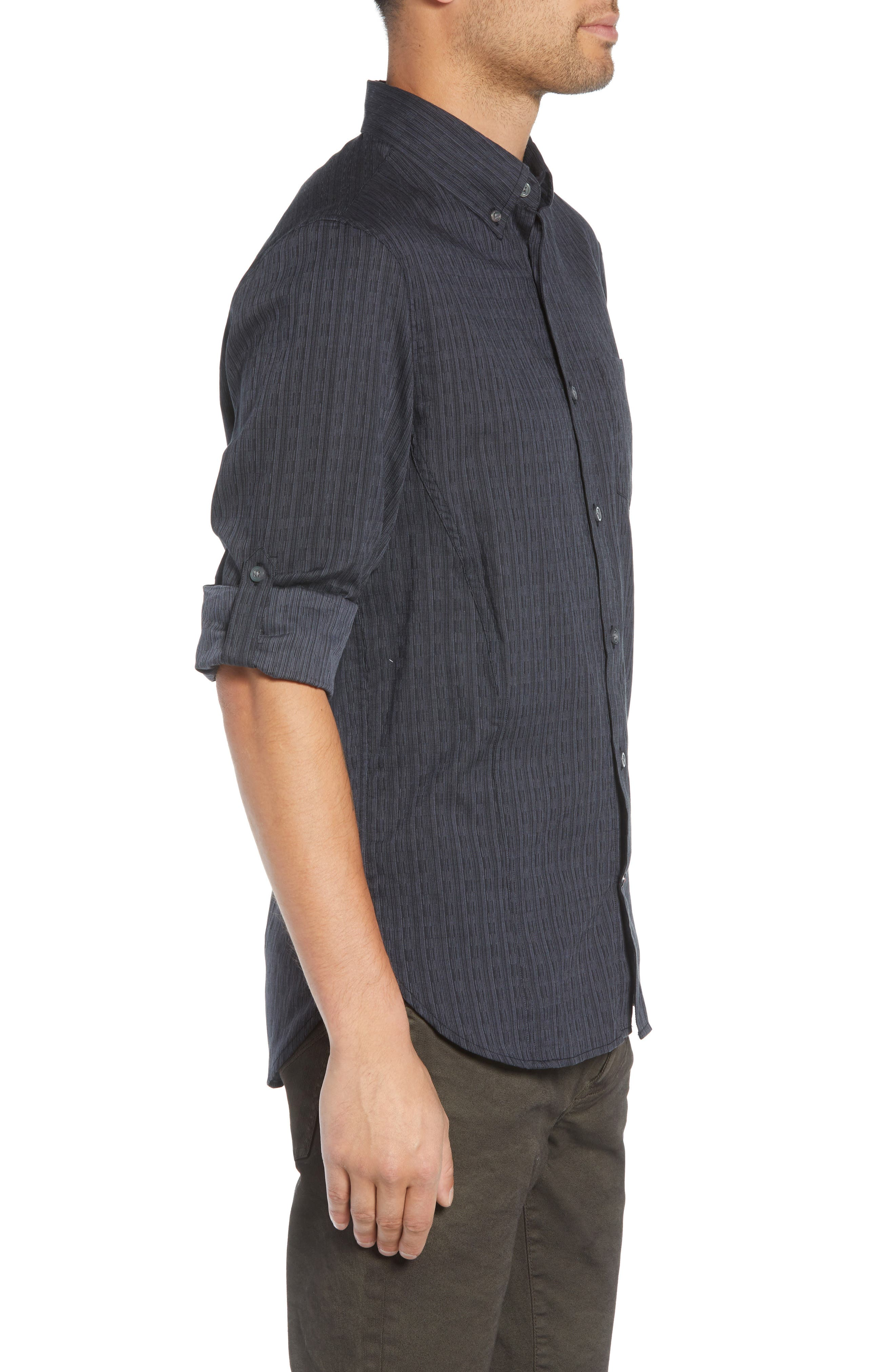 Regular Fit Roll Sleeve Sport Shirt,                             Alternate thumbnail 4, color,                             BLACK