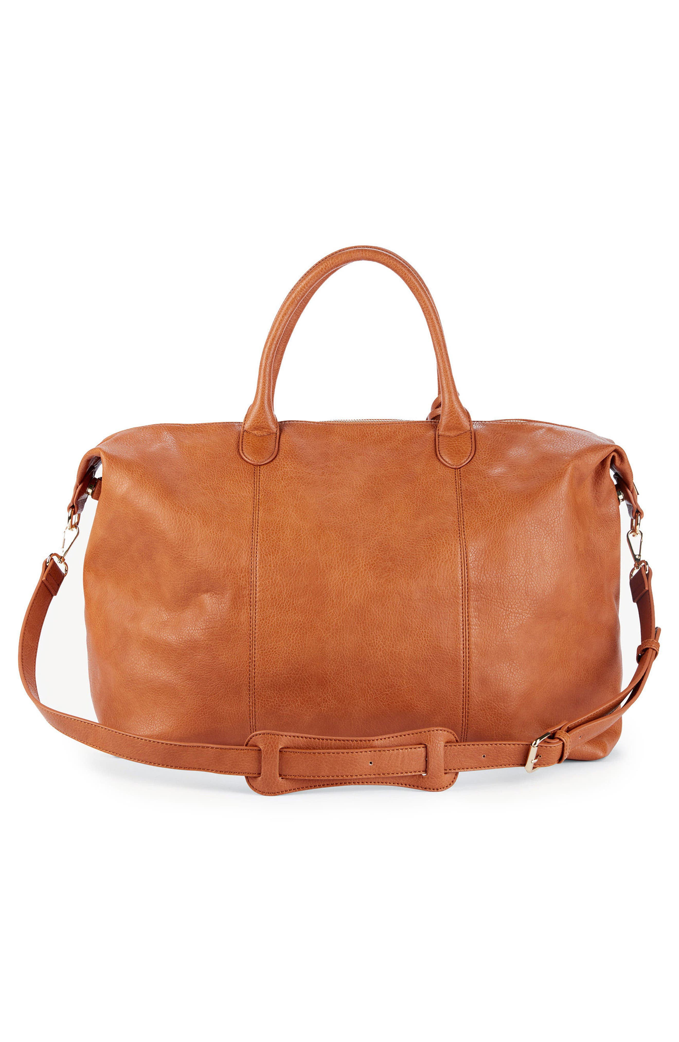 Tara Whipstitched Faux Leather Weekend Bag,                             Alternate thumbnail 6, color,