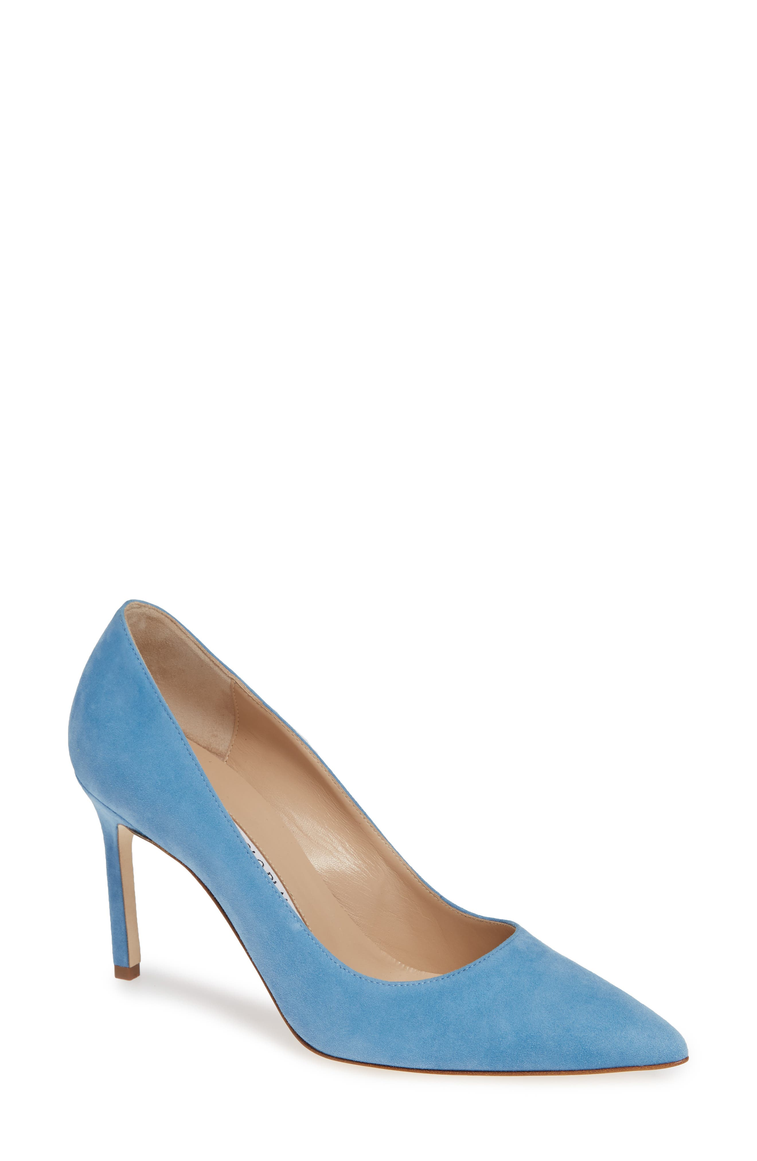BB Pointy Toe Pump,                             Main thumbnail 1, color,                             POWDER BLUE SUEDE