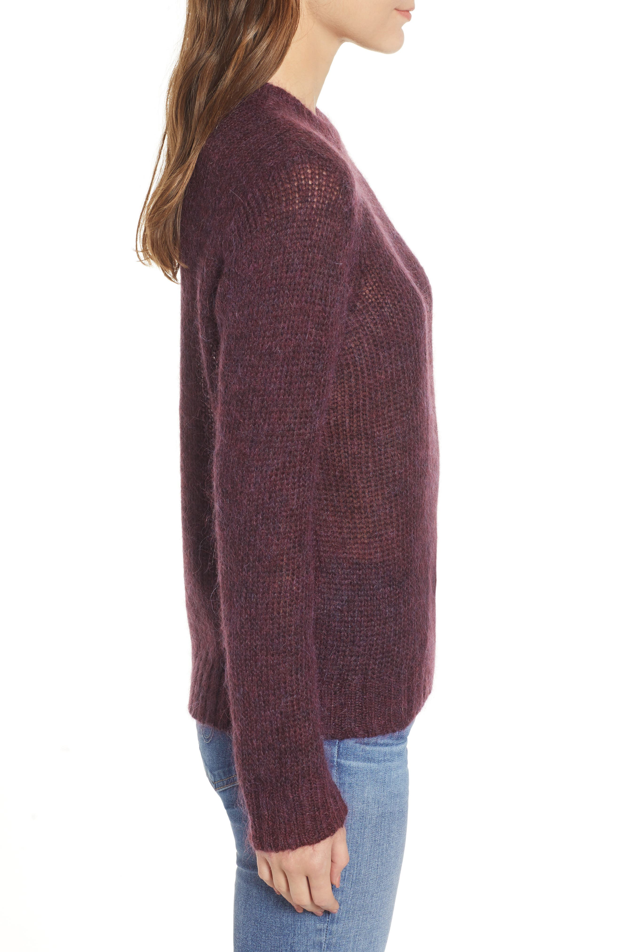 Ansley Crewneck Sweater,                             Alternate thumbnail 3, color,                             RICH CARMINE
