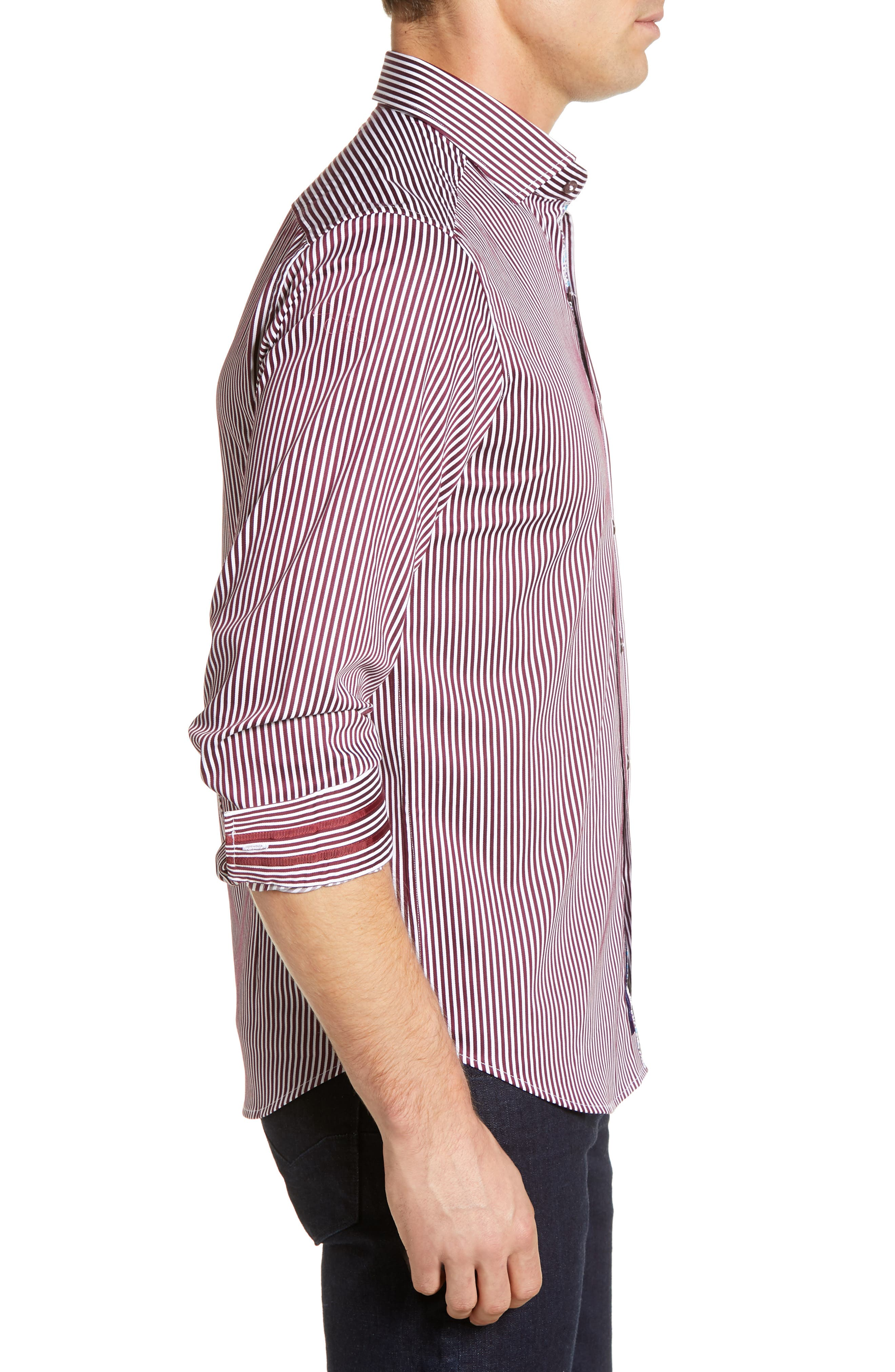Luther Classic Fit Stripe Sport Shirt,                             Alternate thumbnail 4, color,                             BURGUNDY