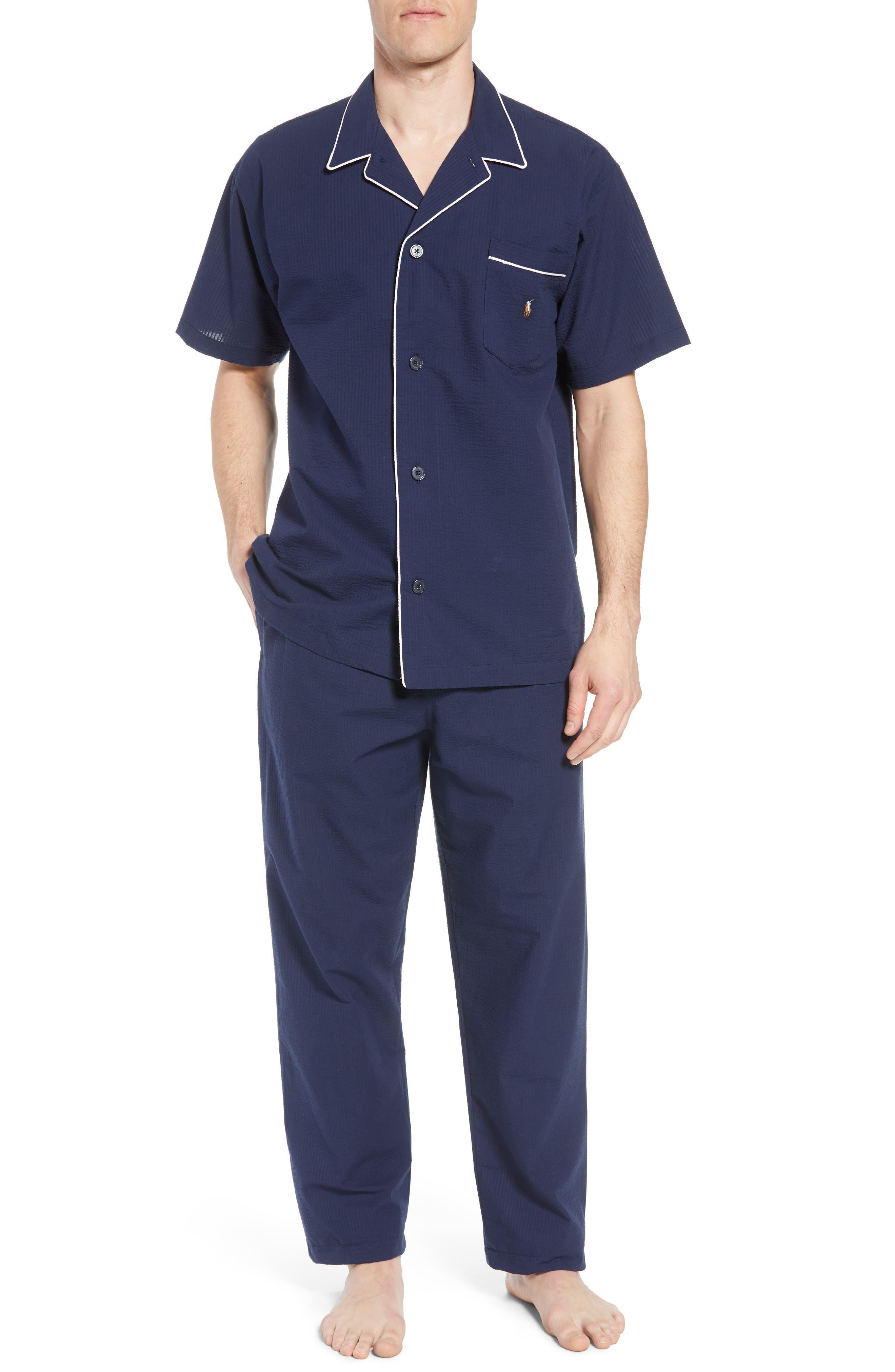 Seersucker Pajama Shirt,                             Alternate thumbnail 6, color,                             421