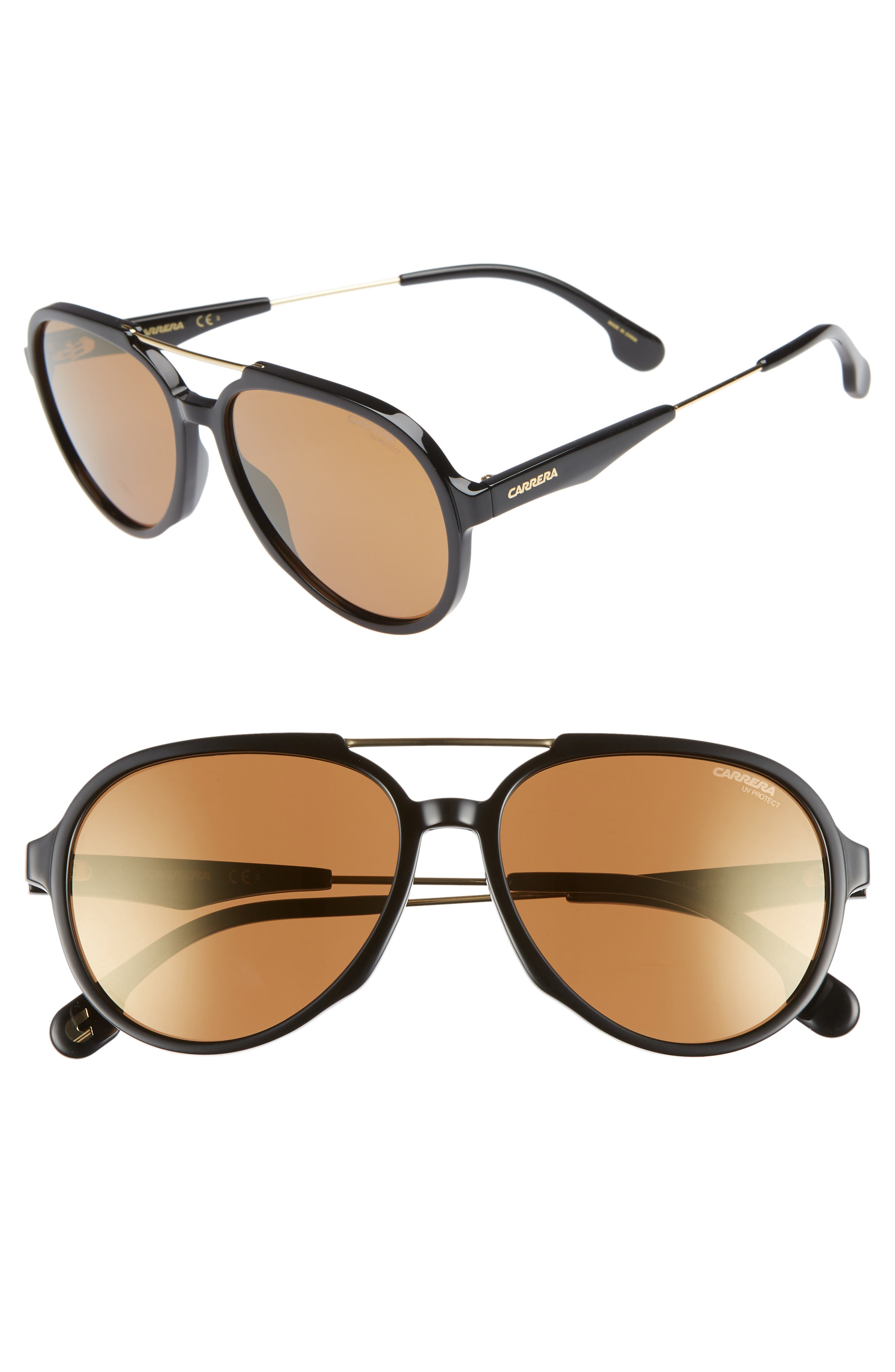 56mm Aviator Sunglasses,                             Main thumbnail 1, color,                             BLACK