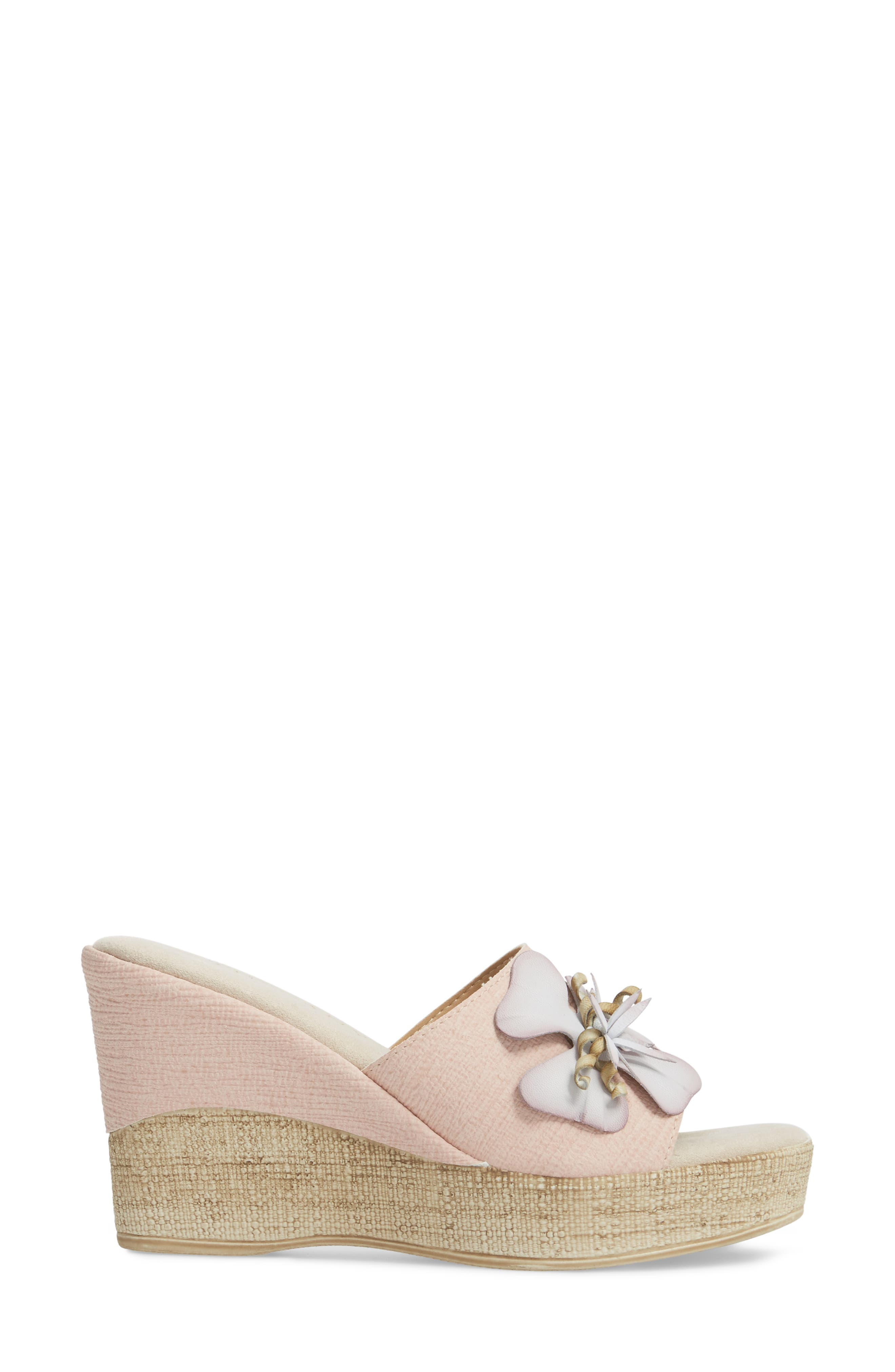by Easy Street<sup>®</sup> Castello Wedge Slide,                             Alternate thumbnail 3, color,                             BLUSH FAUX LEATHER