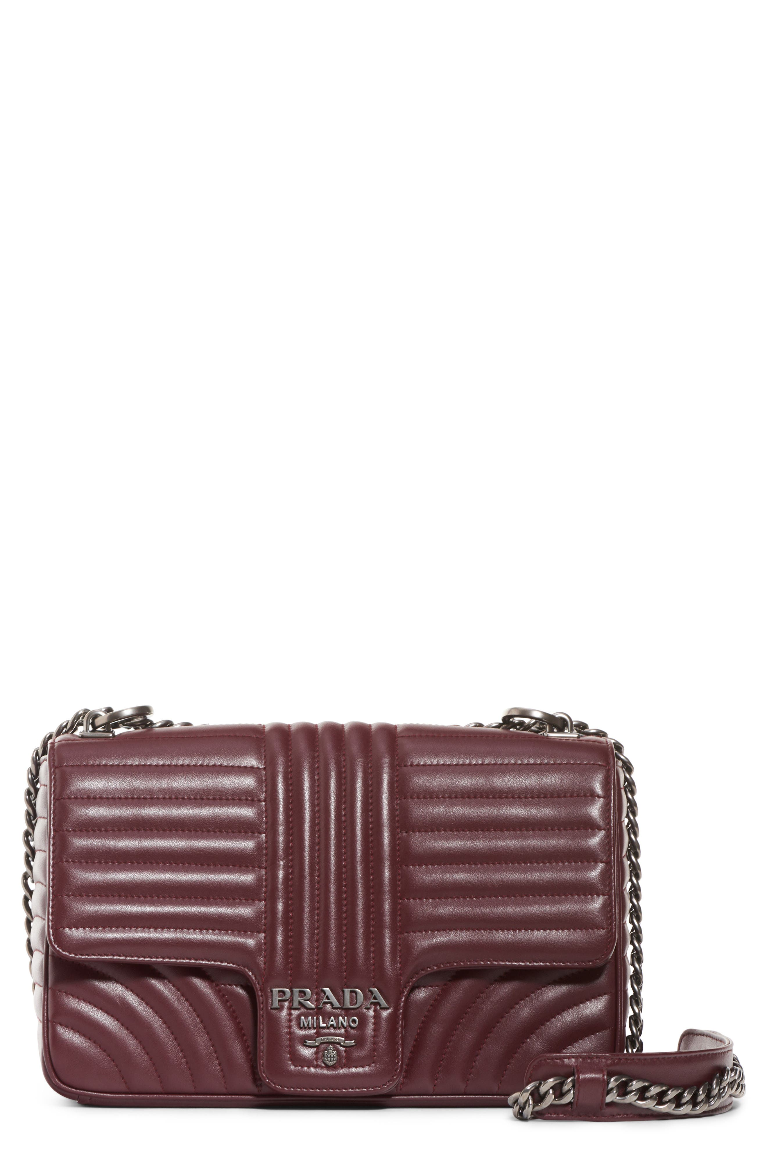 PRADA,                             Large Quilted Leather Shoulder Bag,                             Main thumbnail 1, color,                             GRANATO