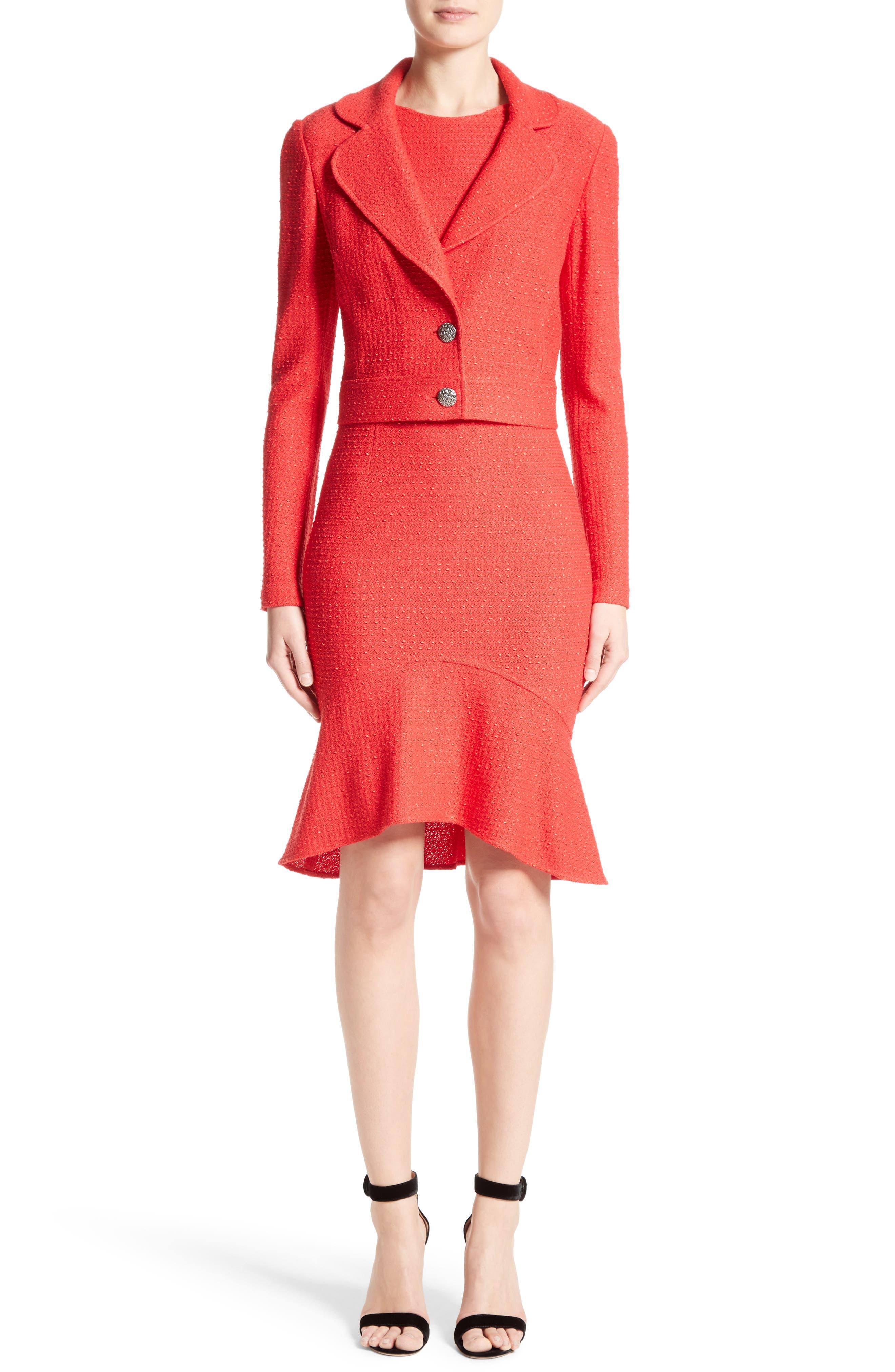 Ribbon Knit Flounce Dress,                             Alternate thumbnail 6, color,                             610