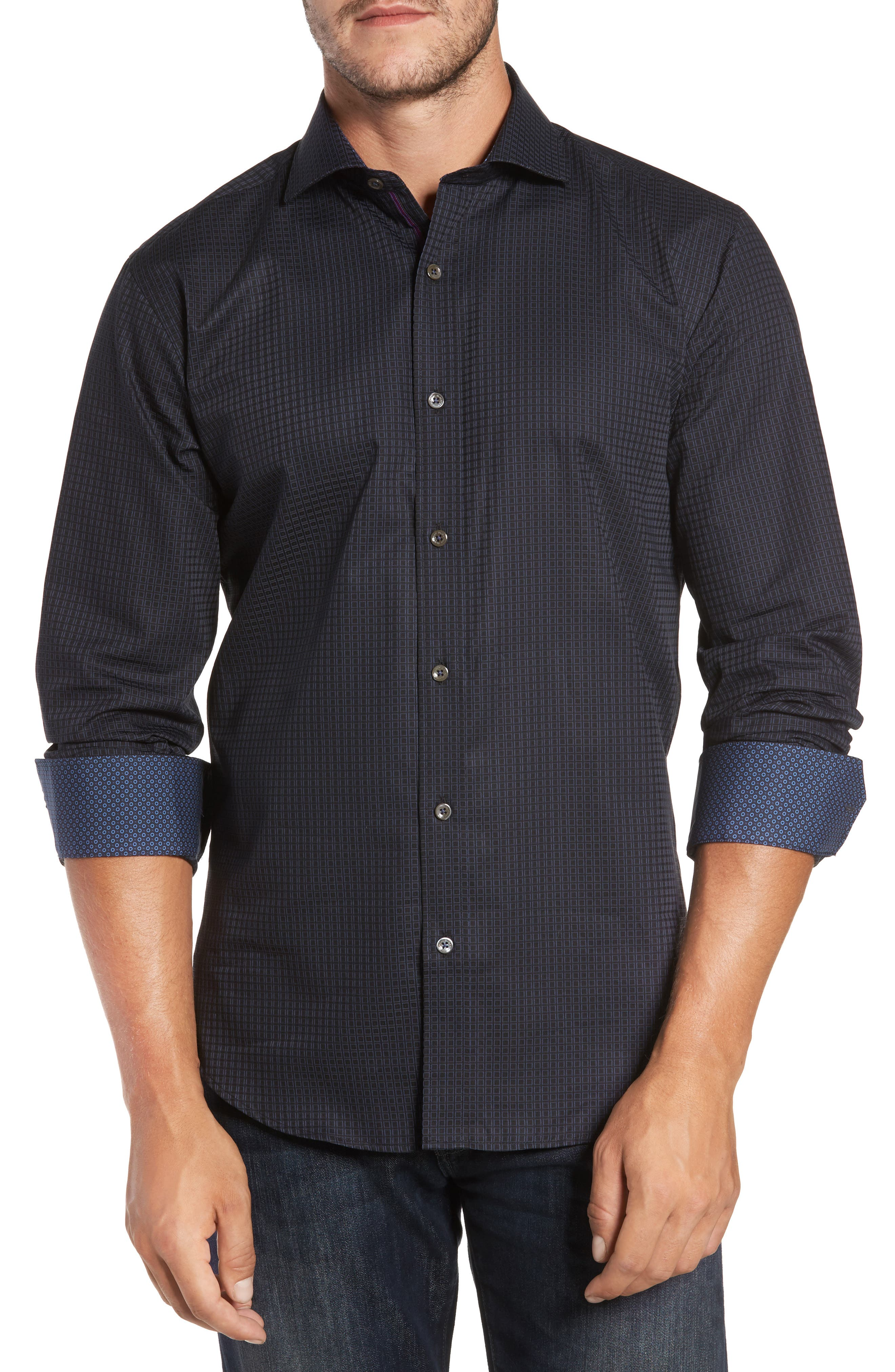 Trim Fit Box Print Sport Shirt,                         Main,                         color, 001