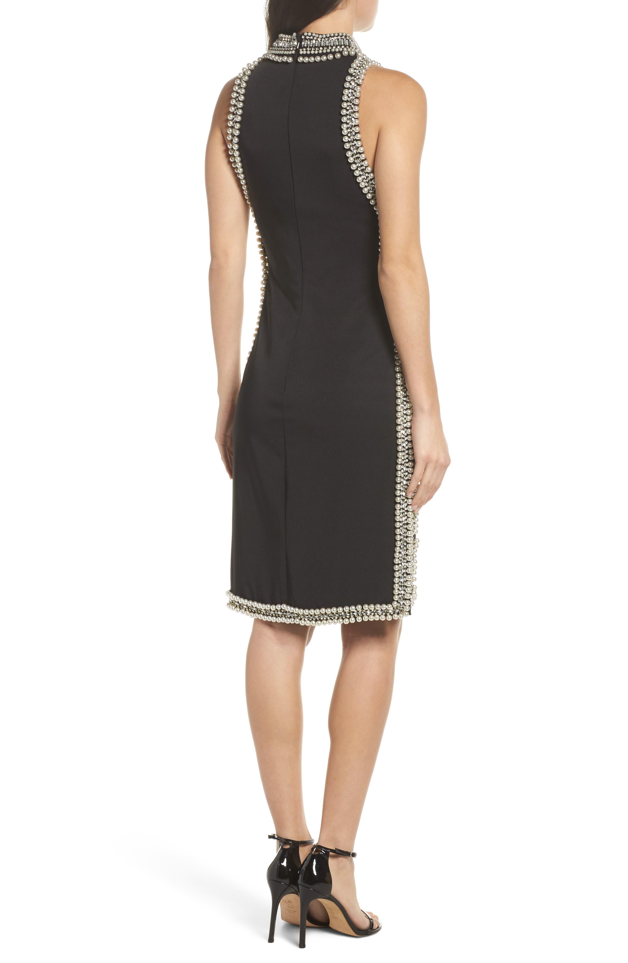 Embellished Trim Sheath Dress,                             Alternate thumbnail 2, color,                             001