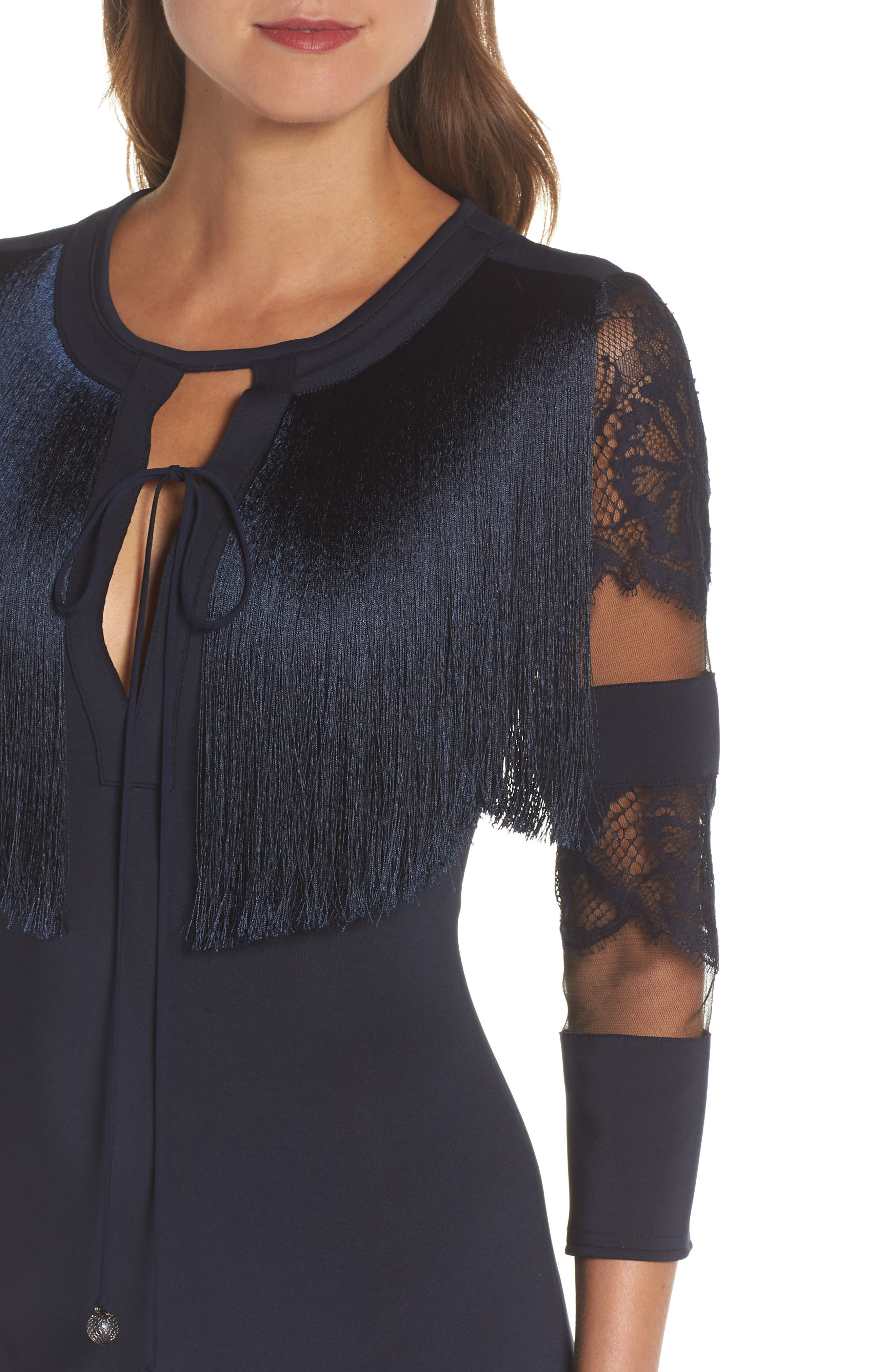 Fringe Sheath Dress,                             Alternate thumbnail 4, color,                             NAVY