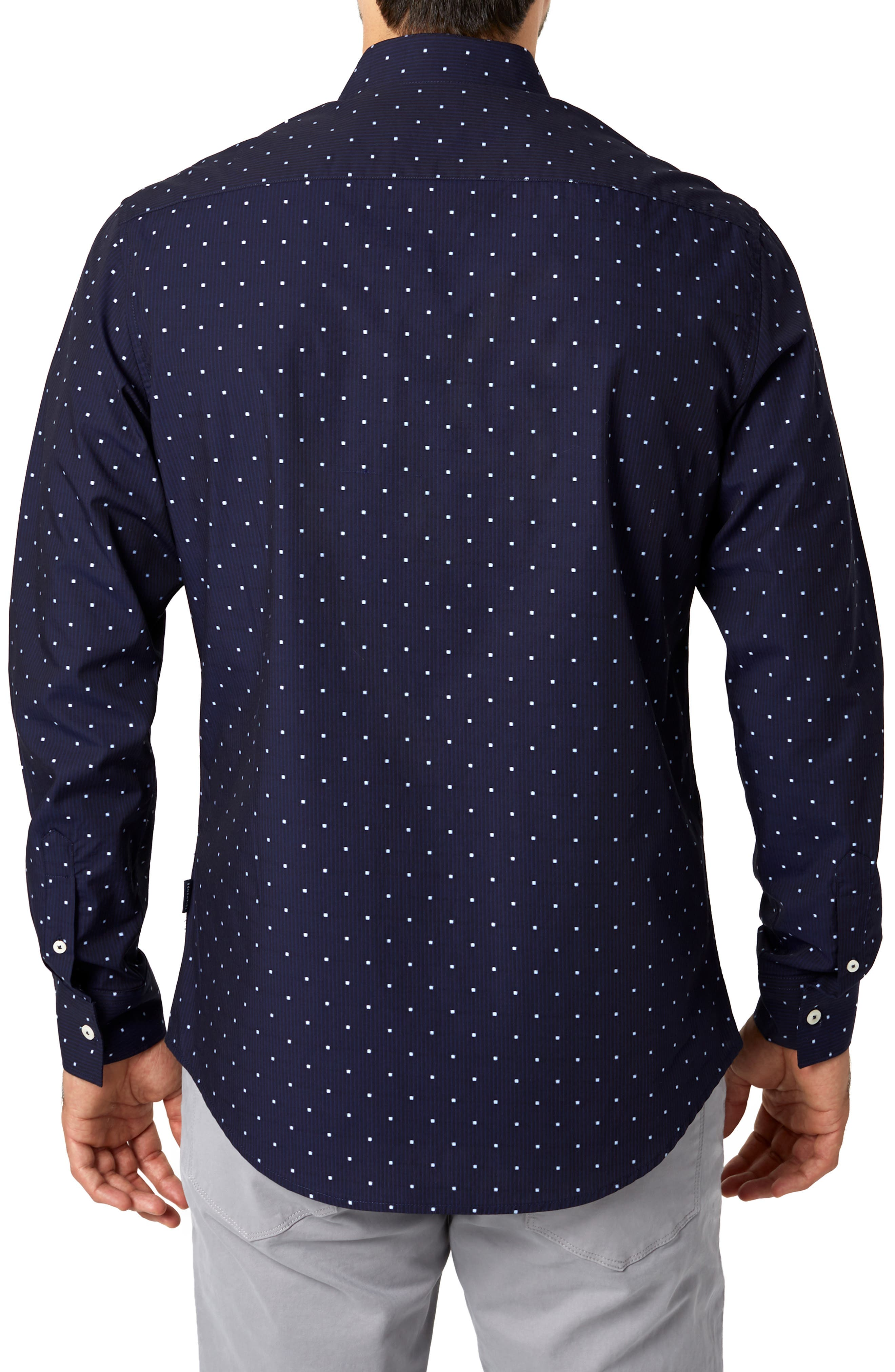 Lovers Rock Trim Fit Sport Shirt,                             Alternate thumbnail 3, color,                             NAVY