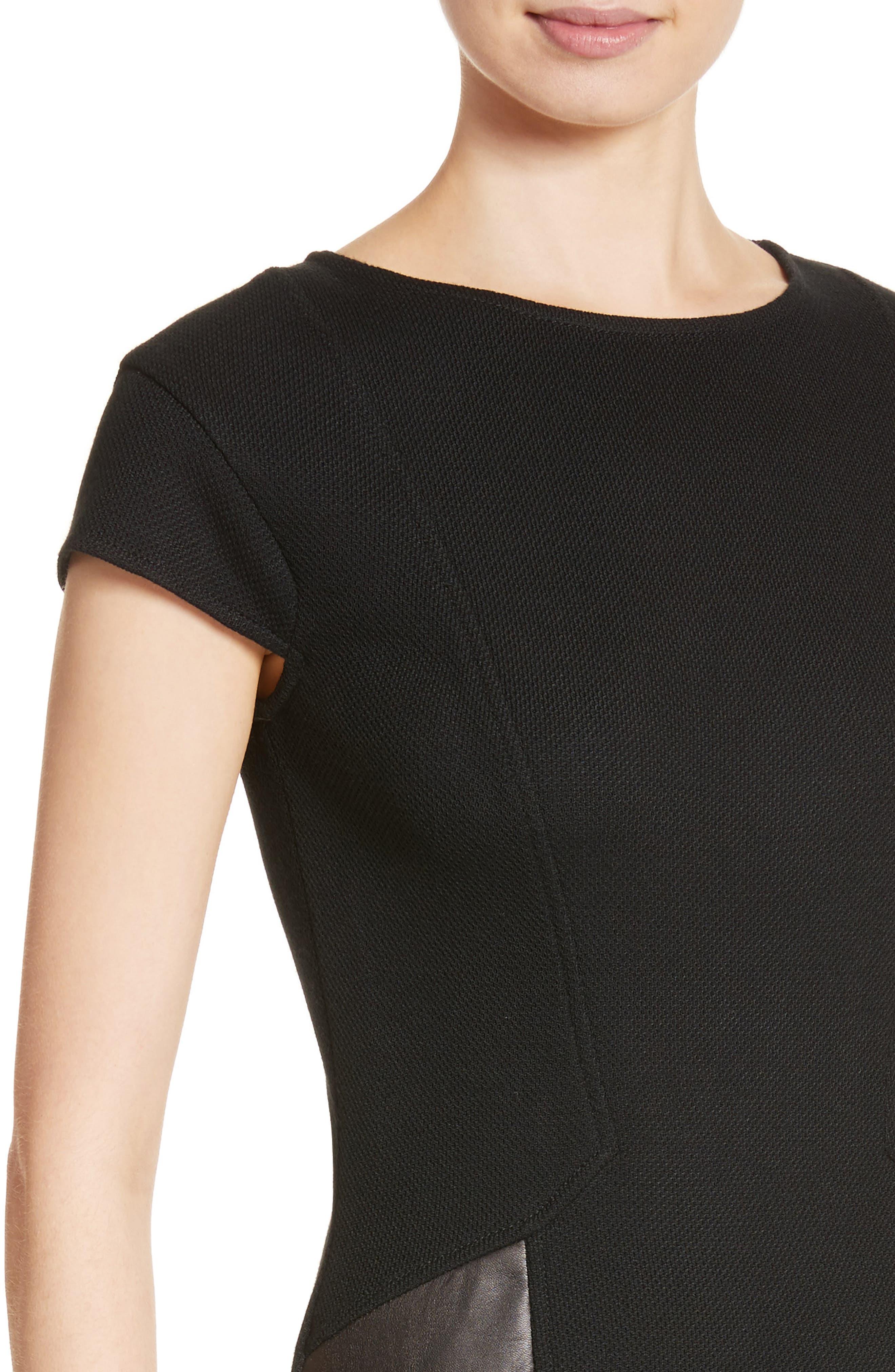 Leather Panel Milano Piqué Knit Dress,                             Alternate thumbnail 4, color,                             001